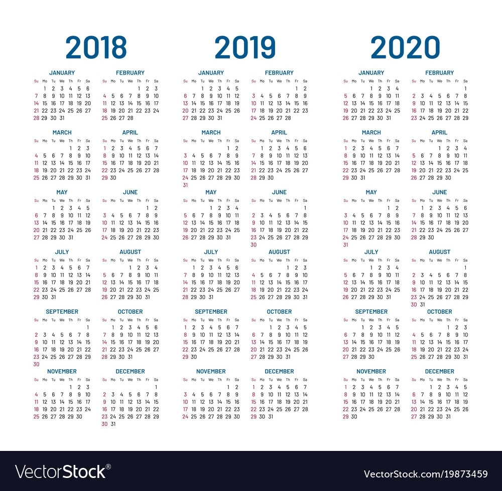 Year 2018 2019 2020 Calendar Royalty Free Vector Image throughout Calendar 2019 2020 With Boxes