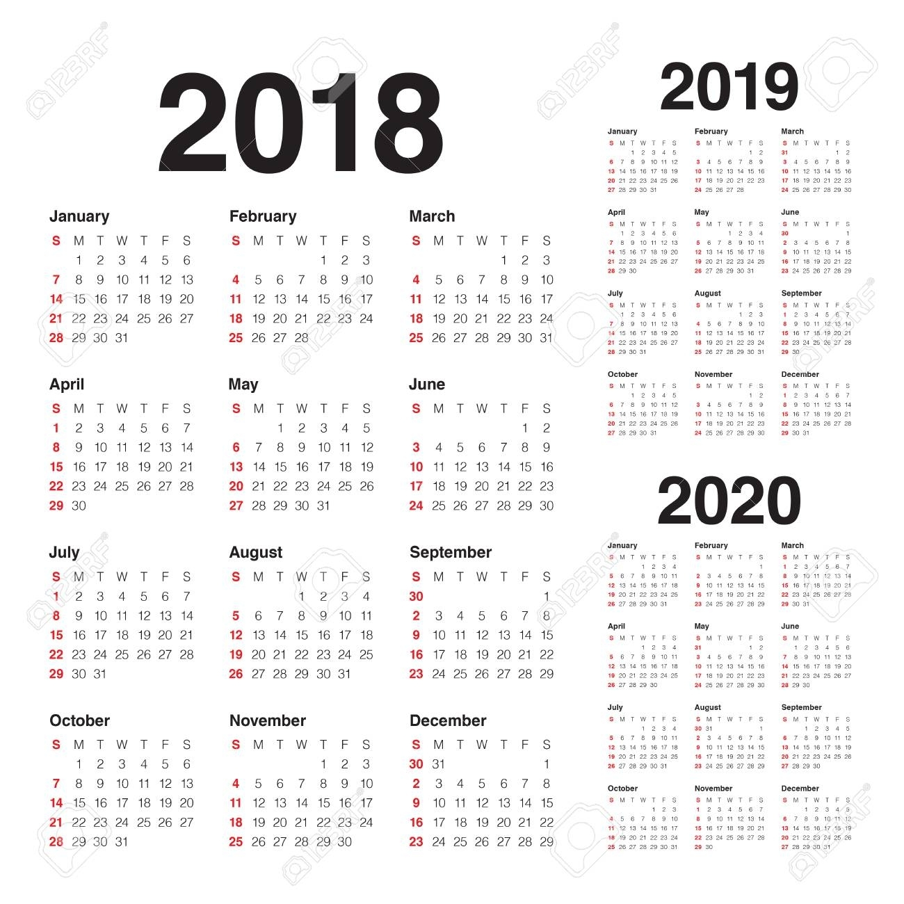 Year 2018 2019 2020 Calendar Vector Design Template, Simple And inside Edit Free Calendar Template 2019-2020