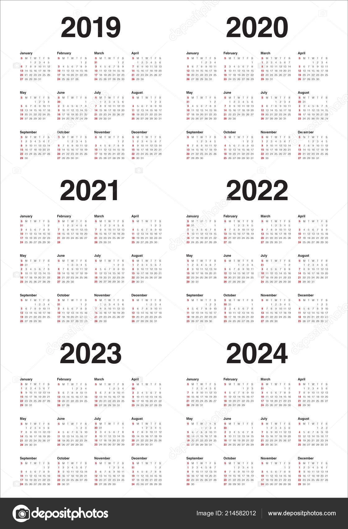 Year 2019 2020 2021 2022 2023 2024 Calendar Vector Design — Stock in Free Prinable Calenders 2020 To 2023