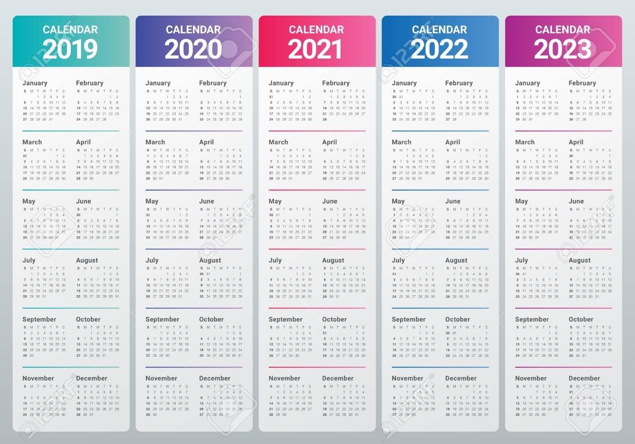 Year 2019 2020 2021 2022 2023 Calendar Vector Design Template in 2020 To 2023 Calendars