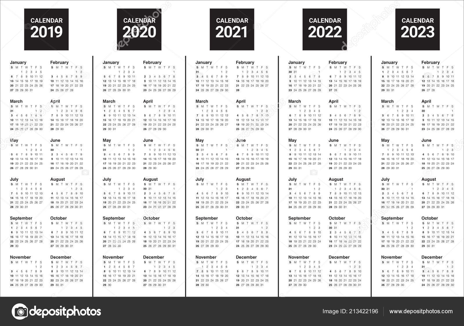 Year 2019 2020 2021 2022 2023 Calendar Vector Design Template intended for Printable Calendar For 2019/2020/2021/2022/2023