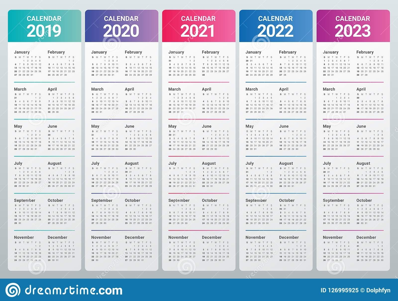 Year 2019 2020 2021 2022 2023 Calendar Vector Design Template Stock for Free Prinable Calenders 2020 To 2023
