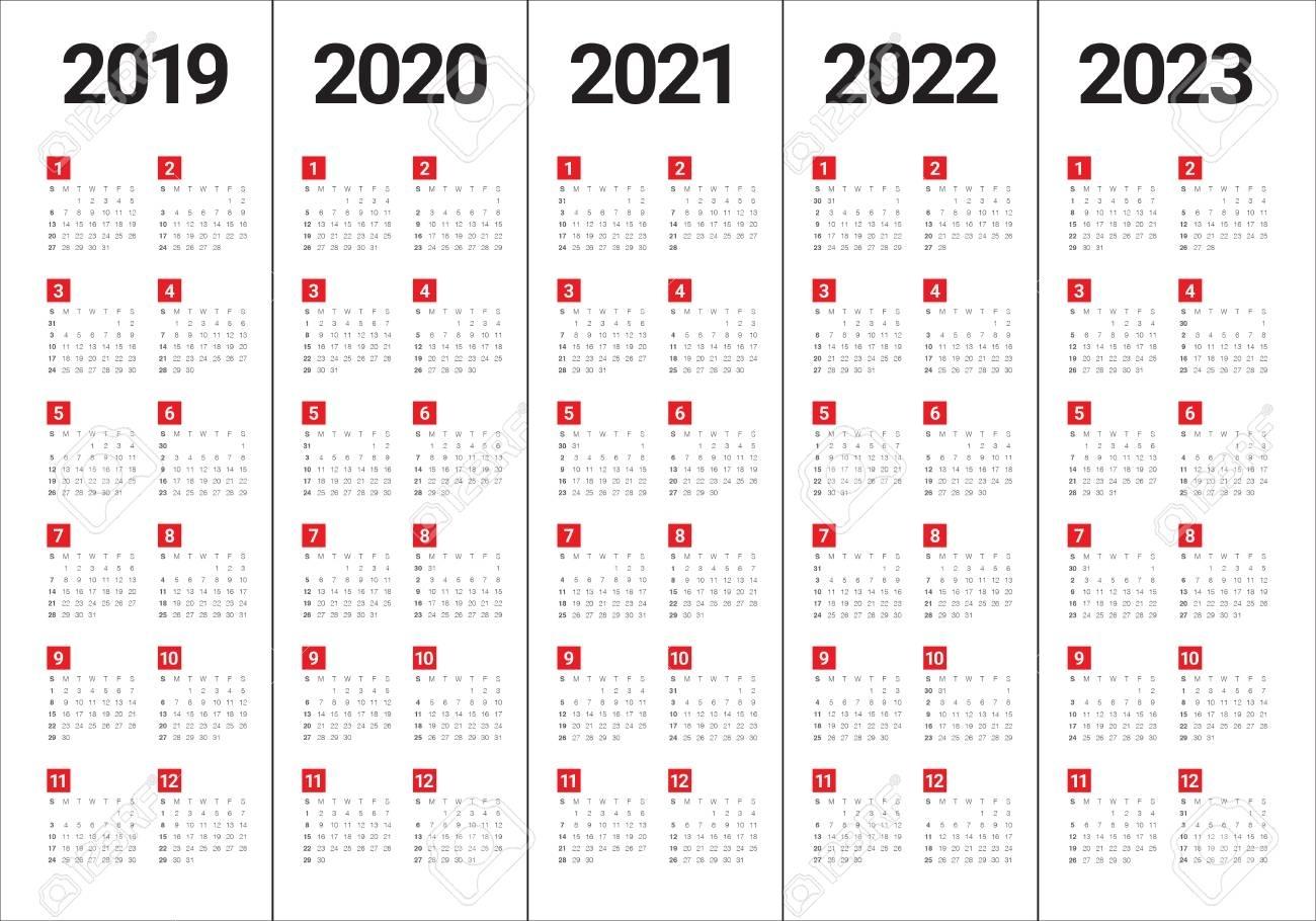 Year 2019 2020 2021 2022 2023 Calendar Vector Design Template with 2020 To 2023 Calendars