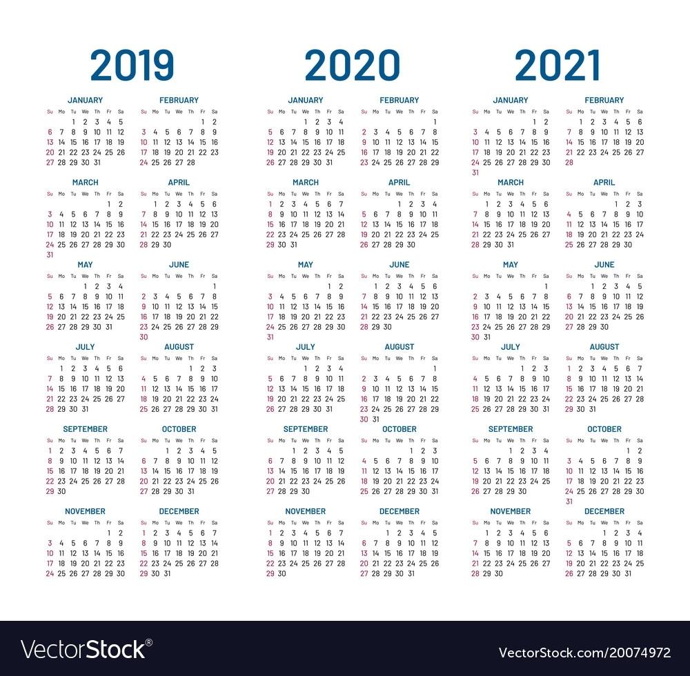 Year 2019 2020 2021 Calendar Royalty Free Vector Image inside Calendar Yearly 2019 2020 2021