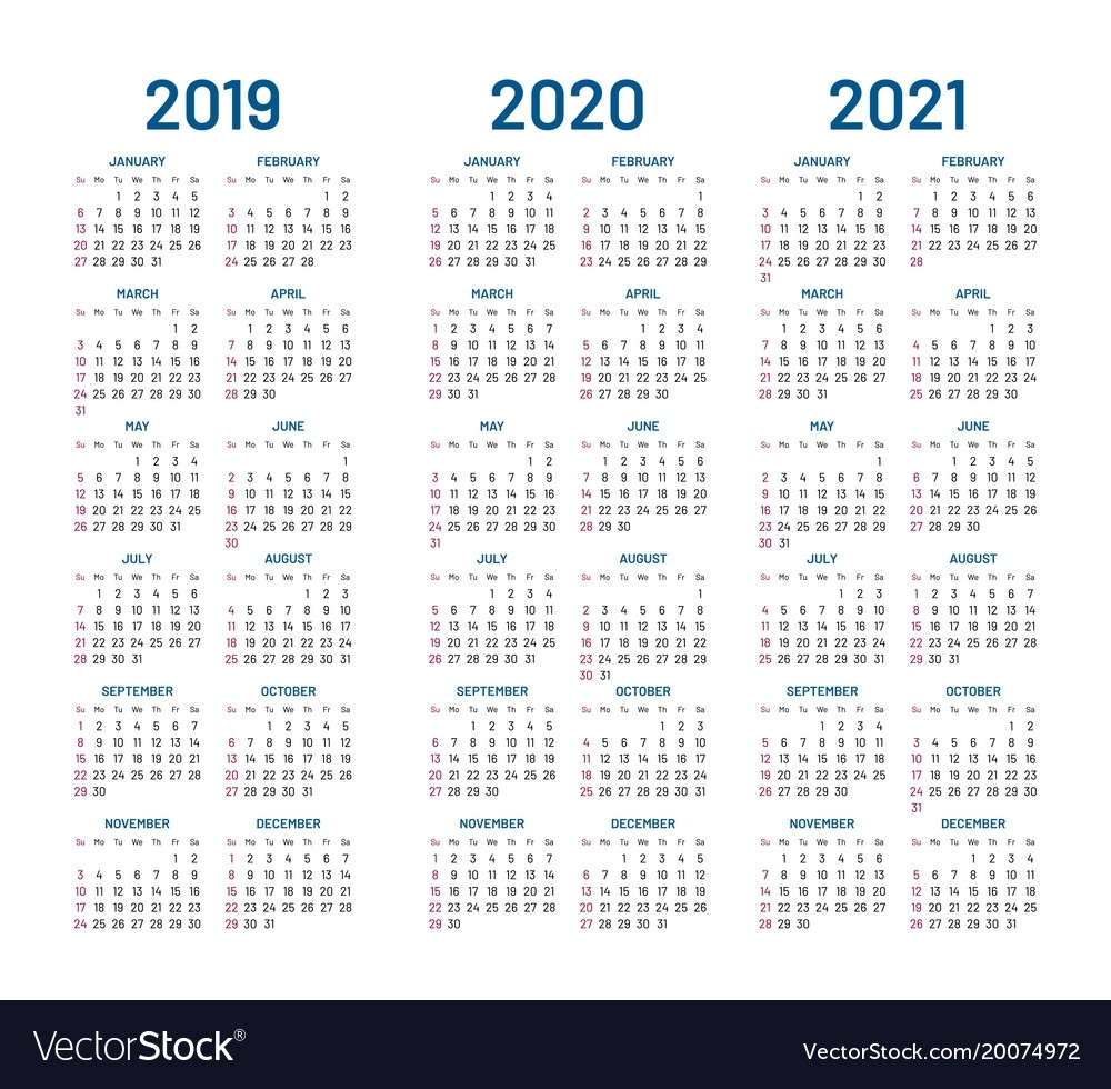 Year 2019 2020 2021 Calendar Royalty Free Vector Image within Calendars 2019 2020 2021