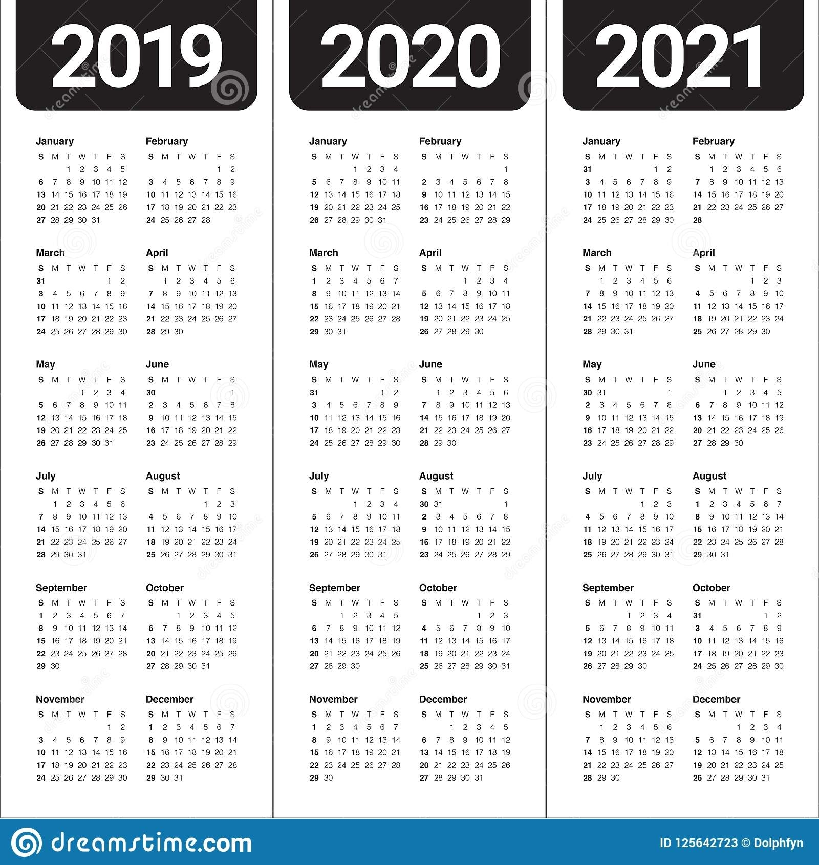Year 2019 2020 2021 Calendar Vector Design Template Stock Vector in Three Year Calendar 2019 2020 2021