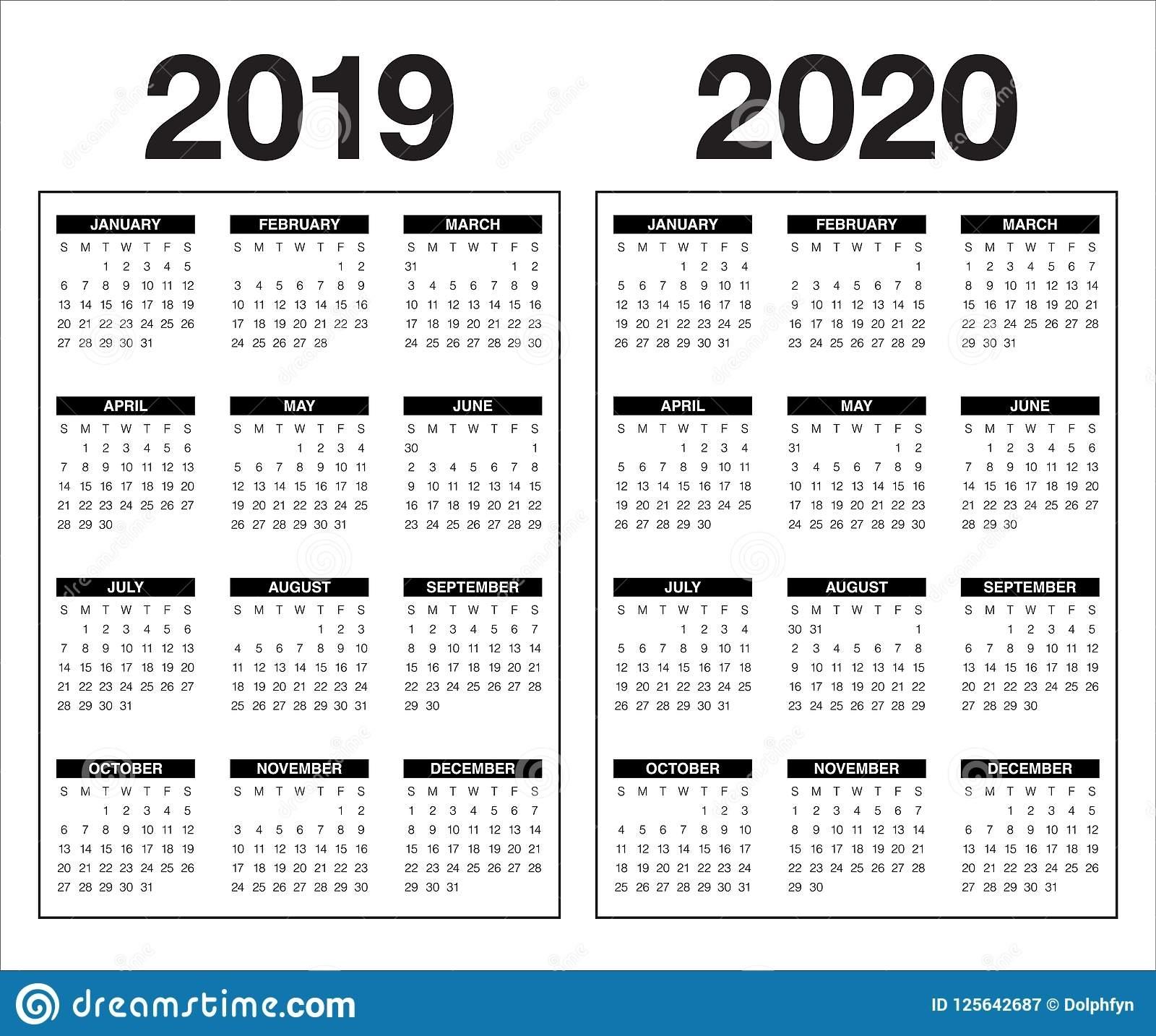 Year 2019 2020 Calendar Vector Design Template Stock Vector pertaining to Calendar 2019 2020 With Boxes