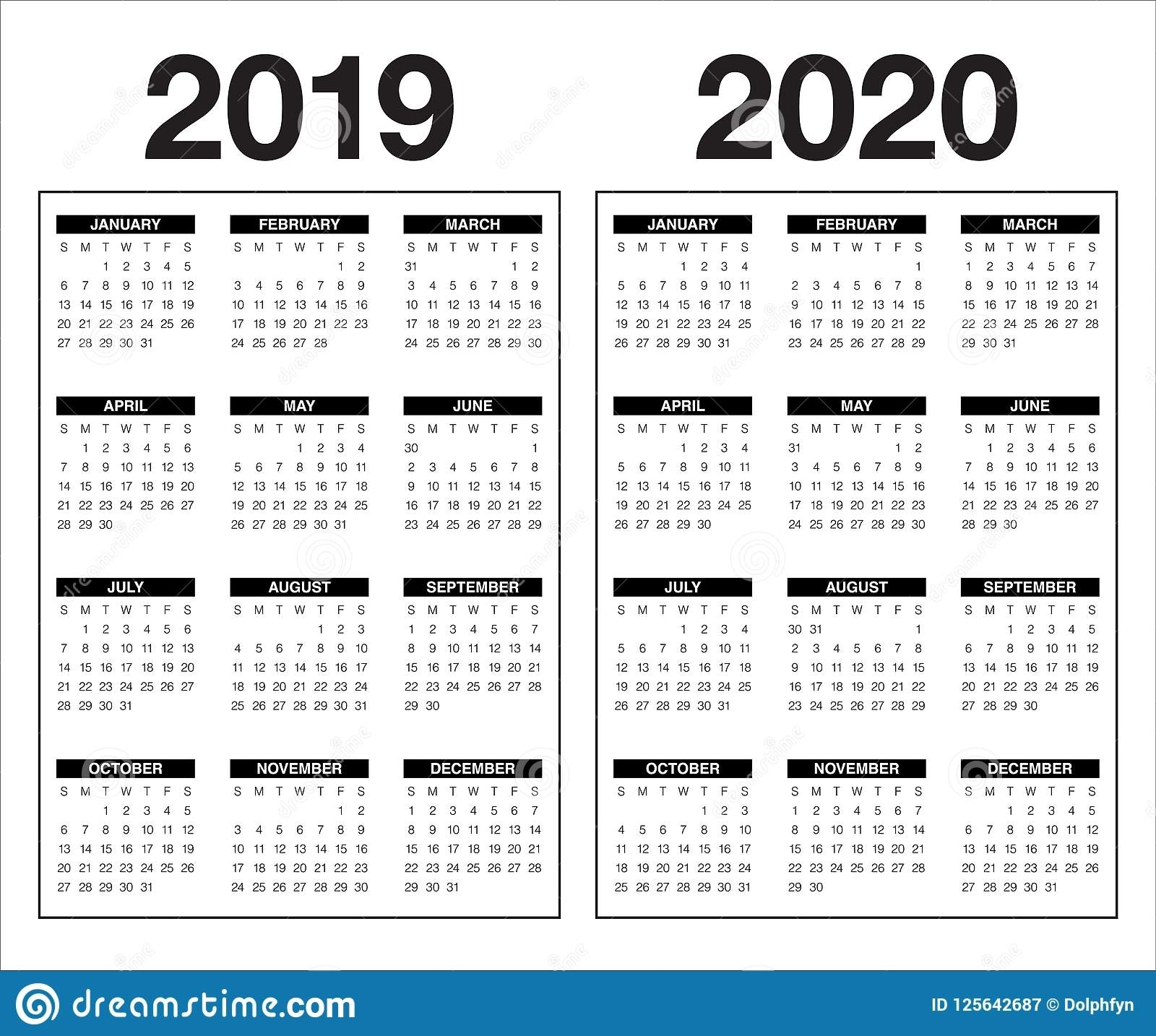 Year 2019 2020 Calendar Vector Design Template Stock Vector regarding 2019 And 2020 Calendar Template Fill In
