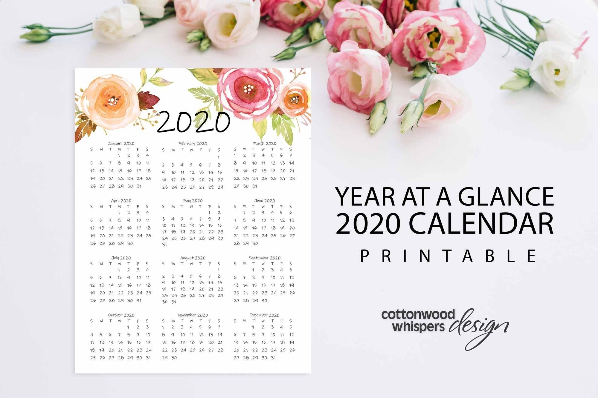 Year At A Glance Calendar 2020 Printable Calendar Letter | Etsy within 2020 Printable Calendar 8.5 X 11 Free
