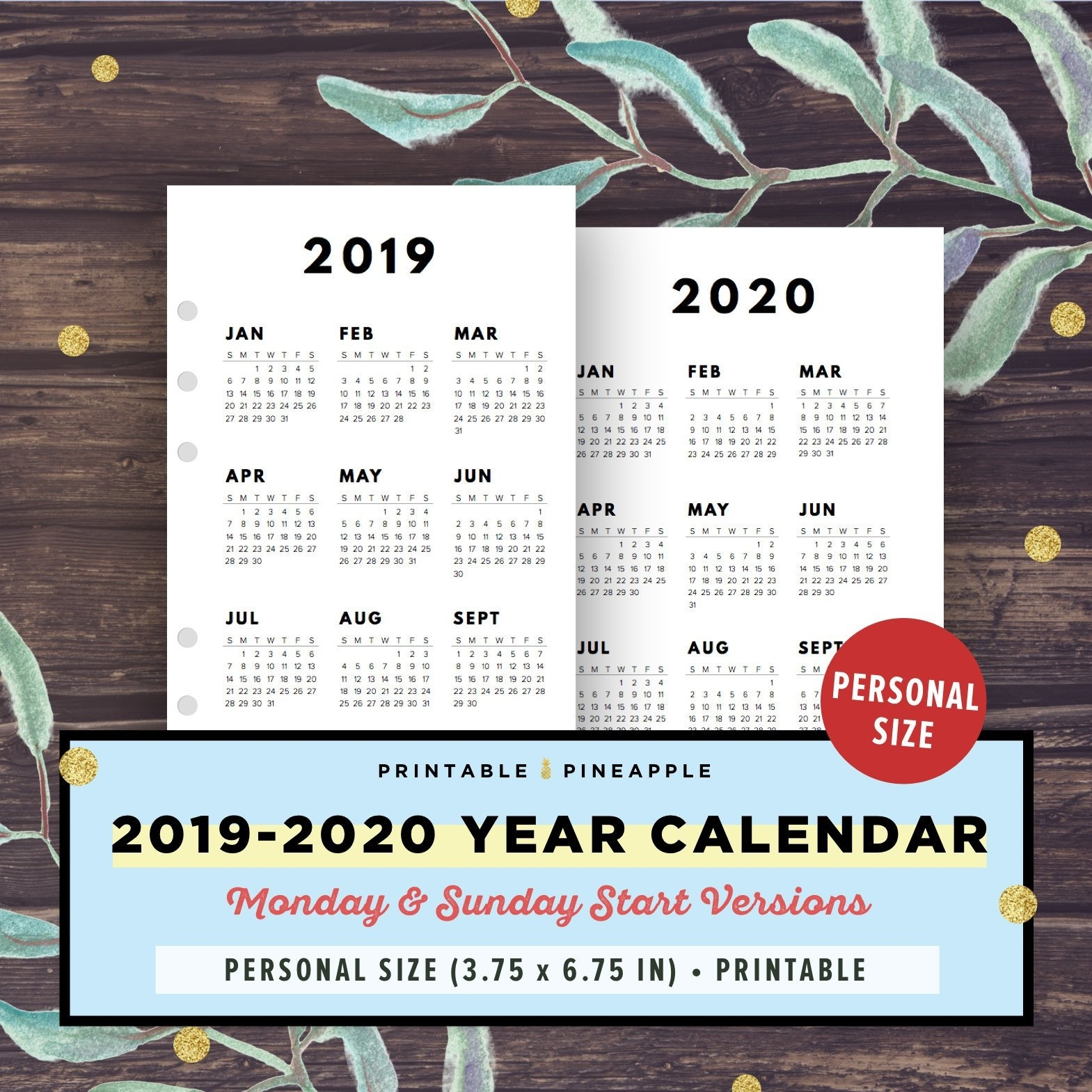 Year Planner 2019-2020 Personal Size Inserts Calendar | Etsy within 2020 Wall Calendar Kikki K