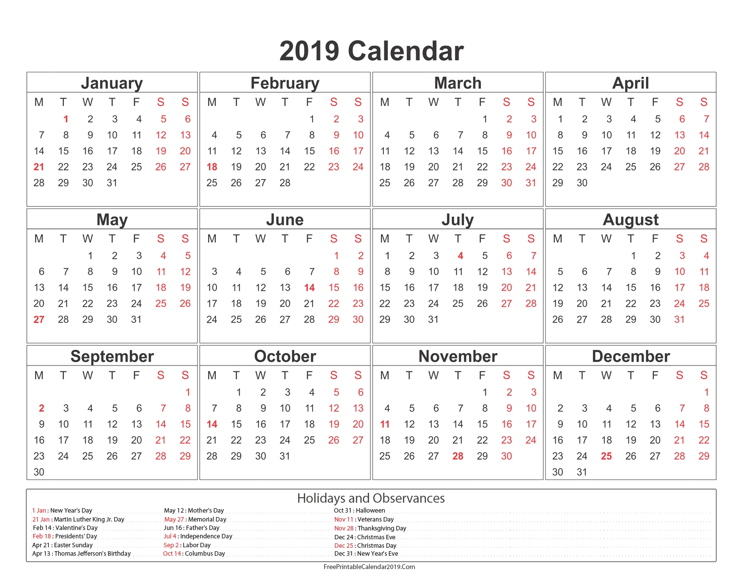 Yearly Calendar 2019 2020 Calendar Printable Free Printable Calendar intended for 2019 2020 Ms Word Calendar