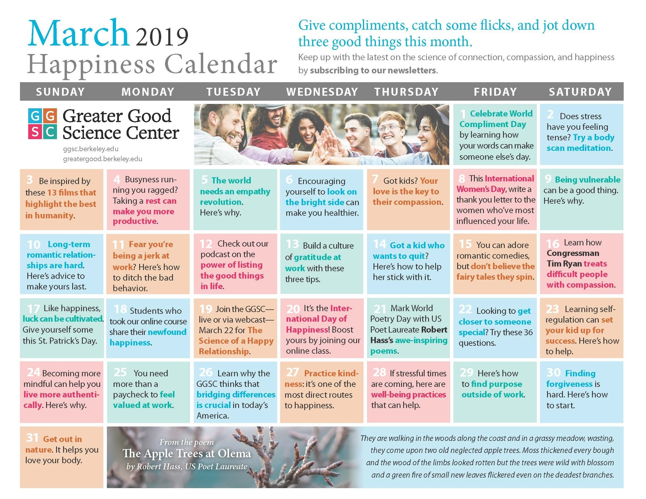 Your Happiness Calendar For March 2019 within Uc Berkeley Calendar 2019 2020
