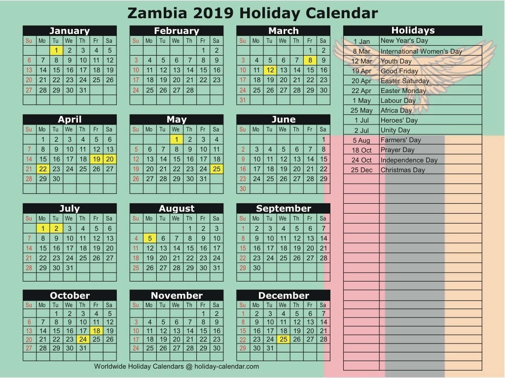 Zambia 2019 / 2020 Holiday Calendar inside 2019-2020 Vacation Calendar
