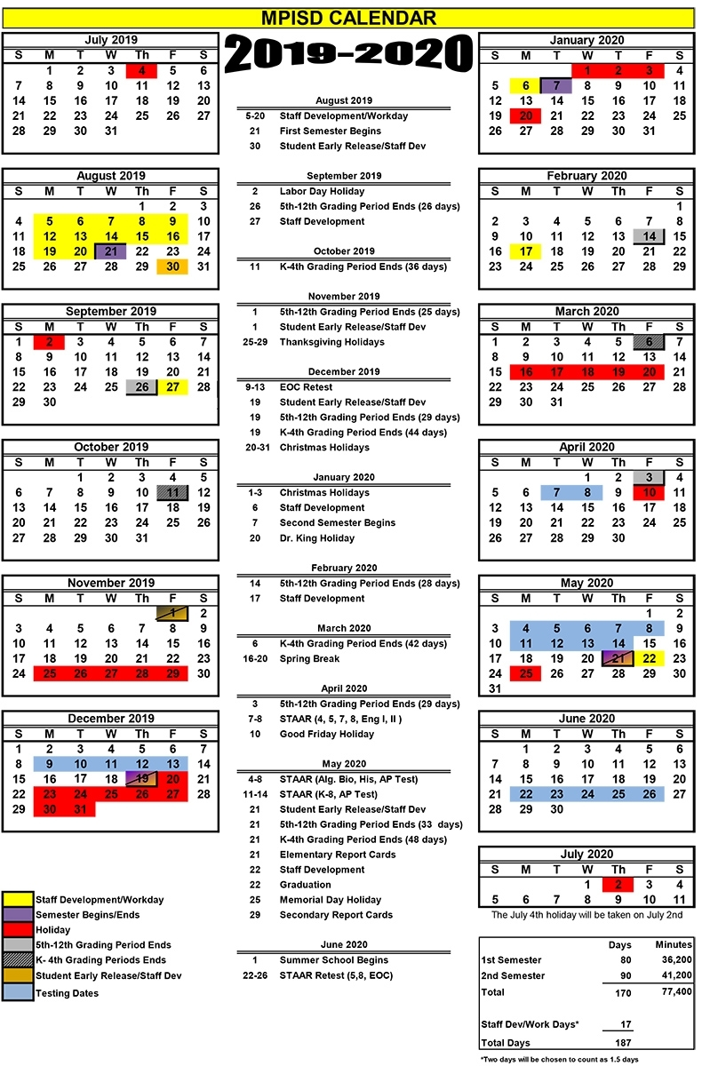 2019-2020 Calendar 2.xlsx - Mount Pleasant Isd for 2020 Uil Calendar