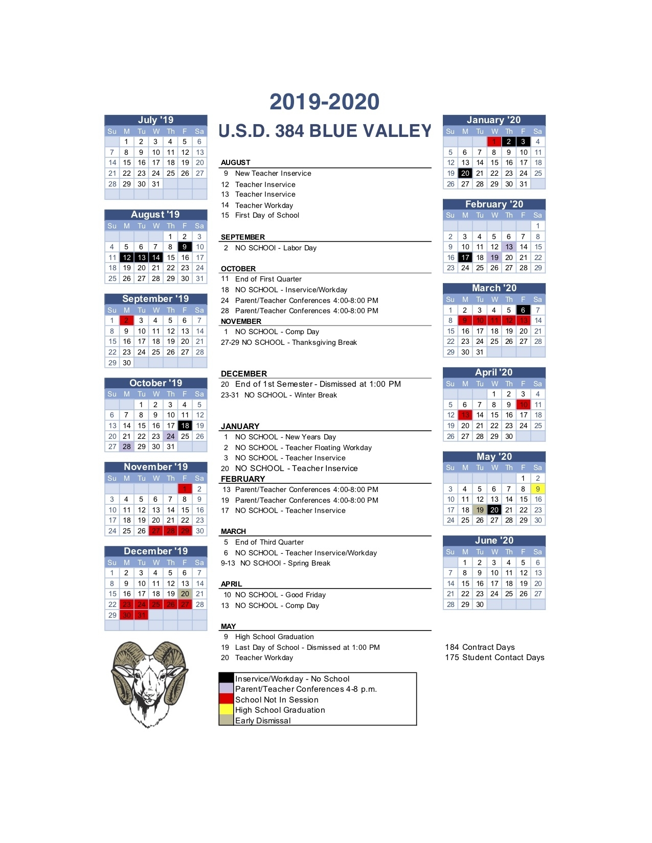 Blue Valley Usd 384 pertaining to U Of M 2019 2020 Calendar