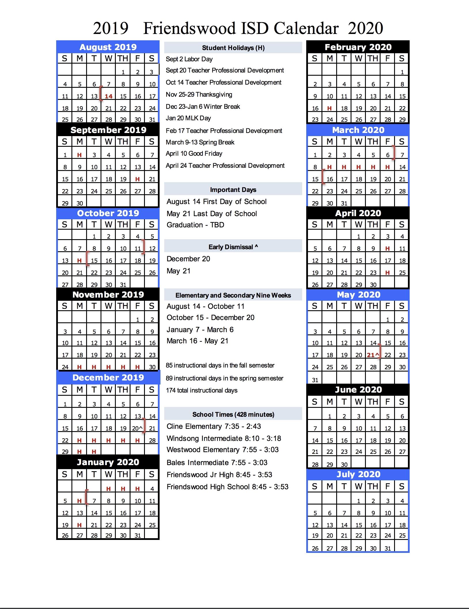 Calendar – Friendswood Isd inside 2020 Uil Calendar