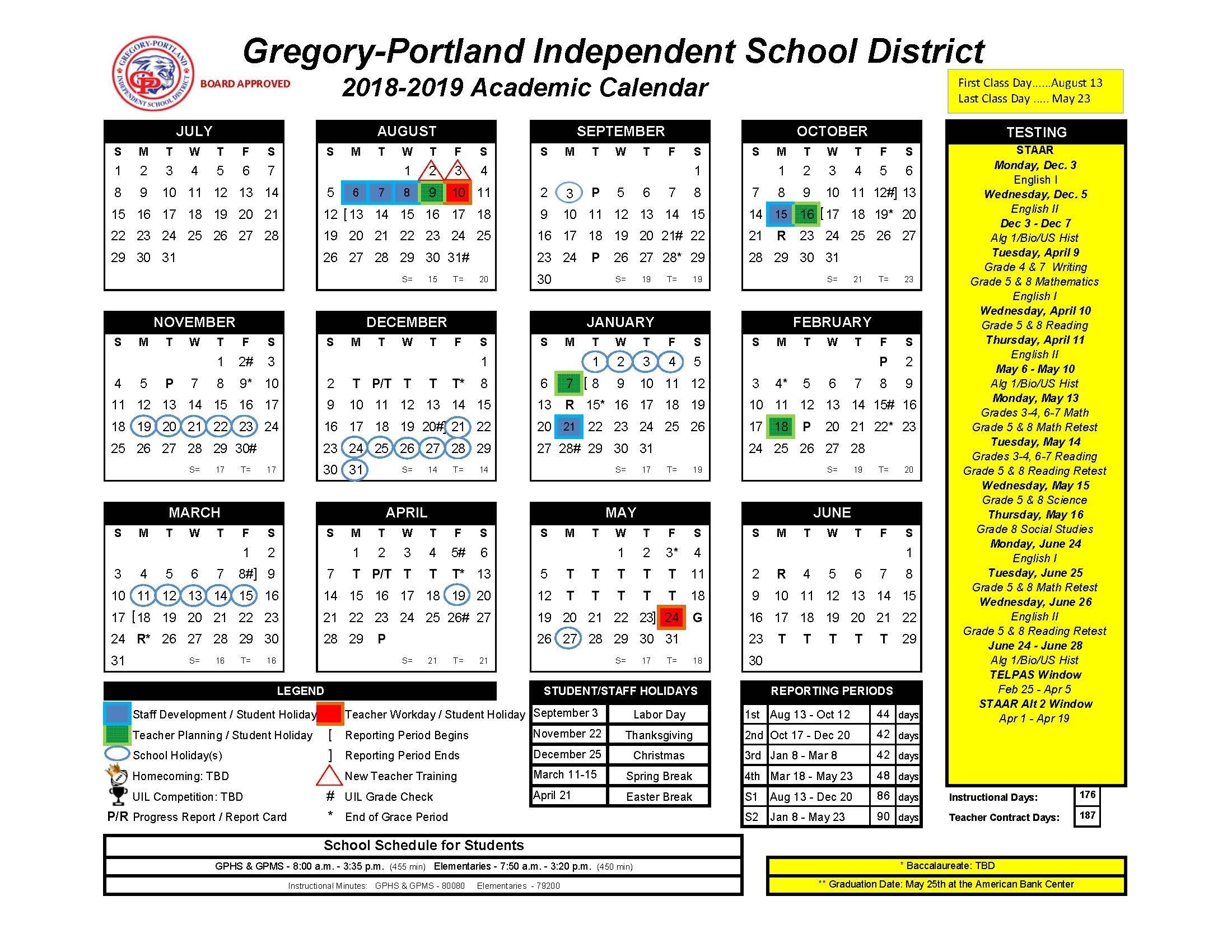 District Calendar, 2018-19 - Gregory-Portland Independent for 2020 Uil Calendar