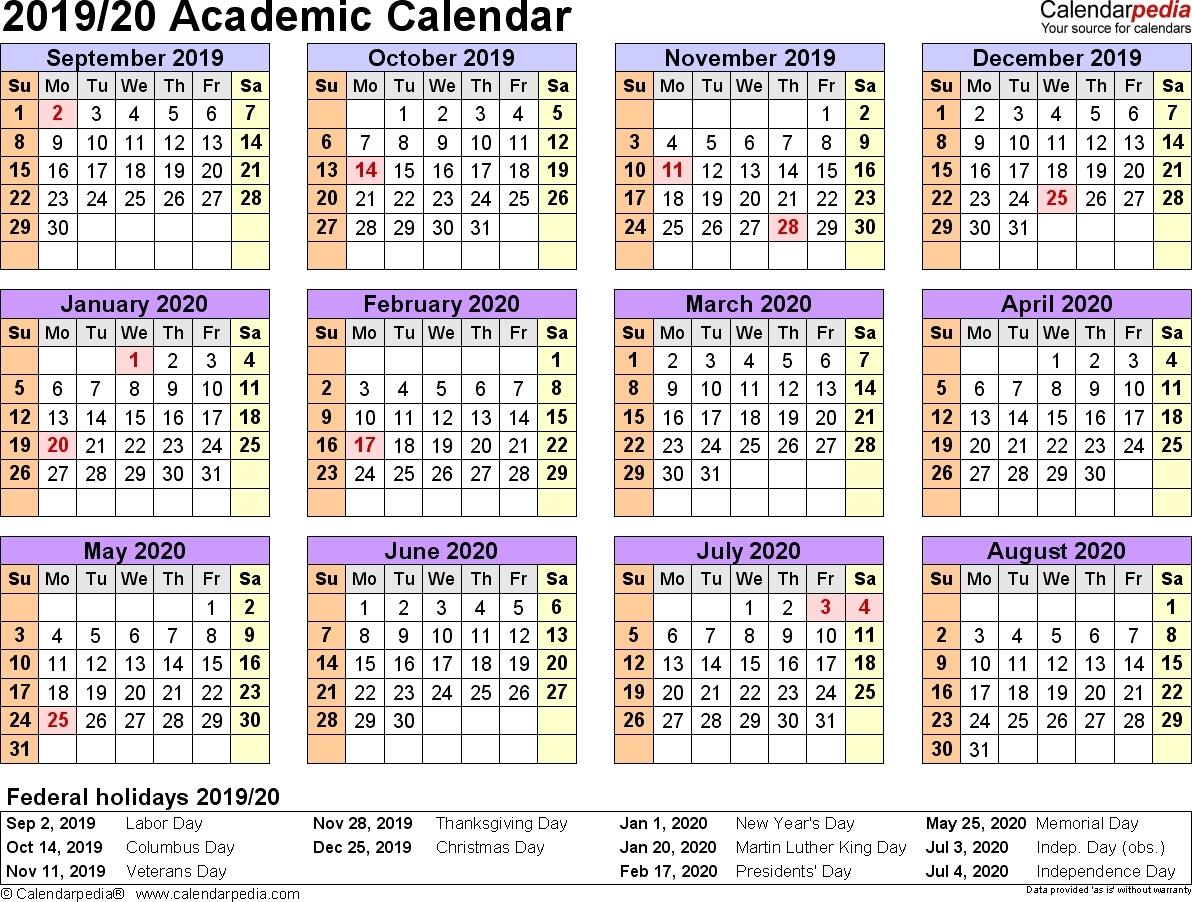 Free Printable 2019-2020 Academic Calendar - Calendar pertaining to Nus 2019/2020 Academic  Calendar