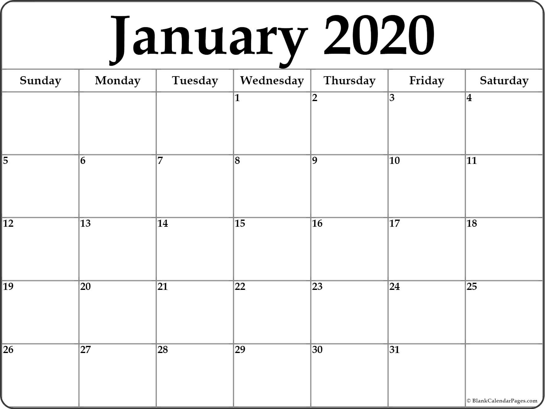 January 2020 Calendar | Free Printable Monthly Calendars inside Free Printable 2020 Calendars-Monthly