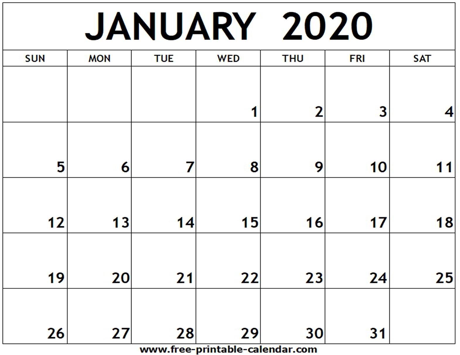 January 2020 Printable Calendar - Free-Printable-Calendar with regard to Free Printable 2020 Calendars-Monthly
