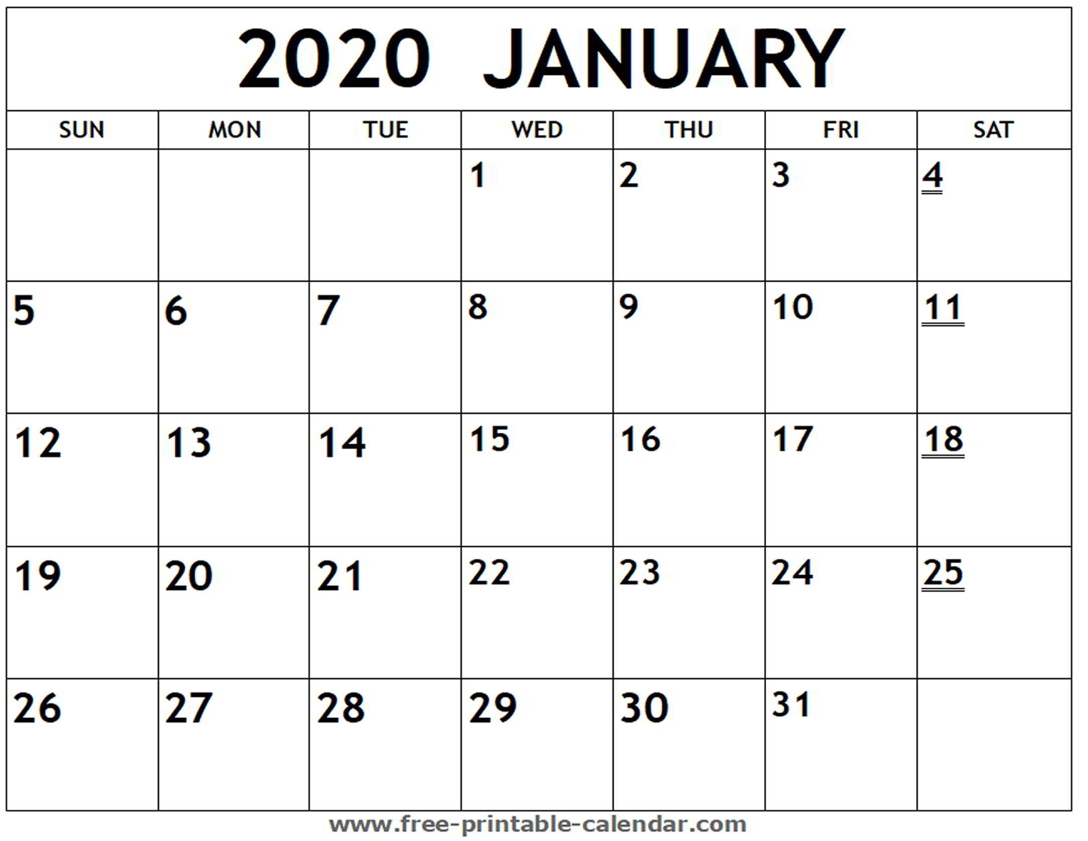 Printable 2020 January Calendar - Free-Printable-Calendar with regard to Free Printable 2020 Calendars-Monthly