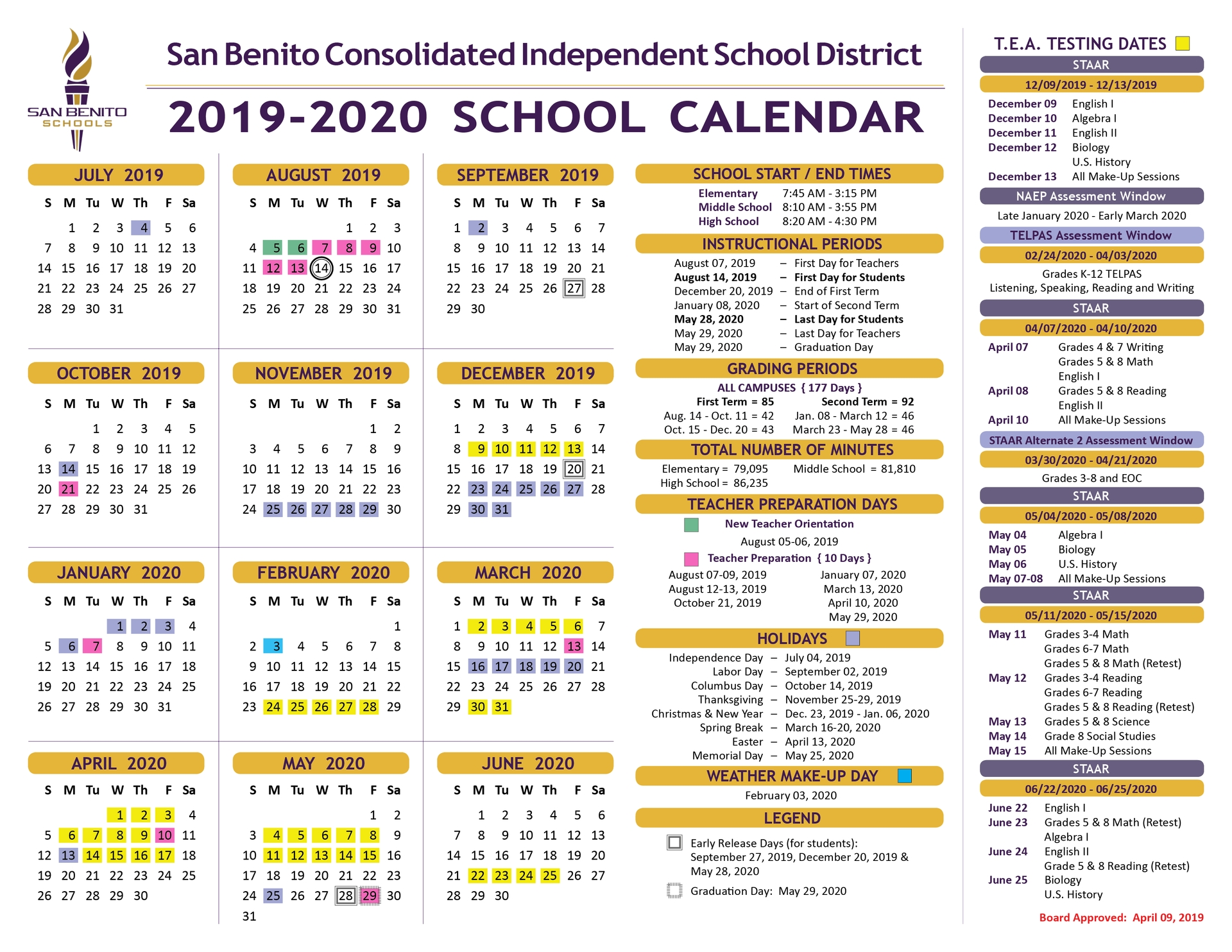School Calendar – District – San Benito Consolidated inside 2020 Uil Calendar