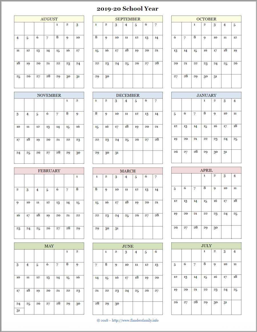 Year At A Glance 2020 | Calendar Template Printable for Year At A Glance 2020