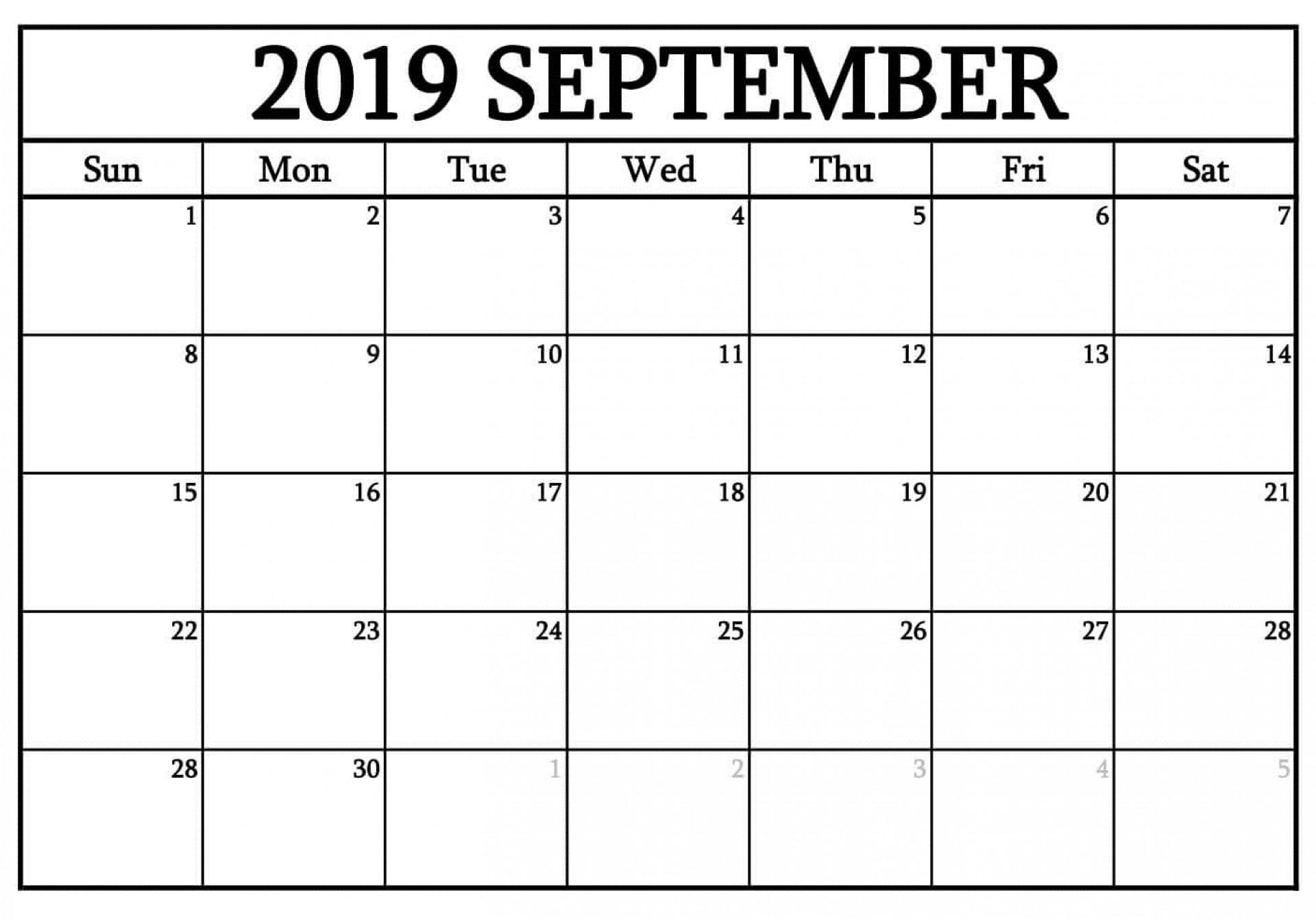 017 Printable Fill In Calendar September Template Ideas with Printable Fill In Calendar 2019