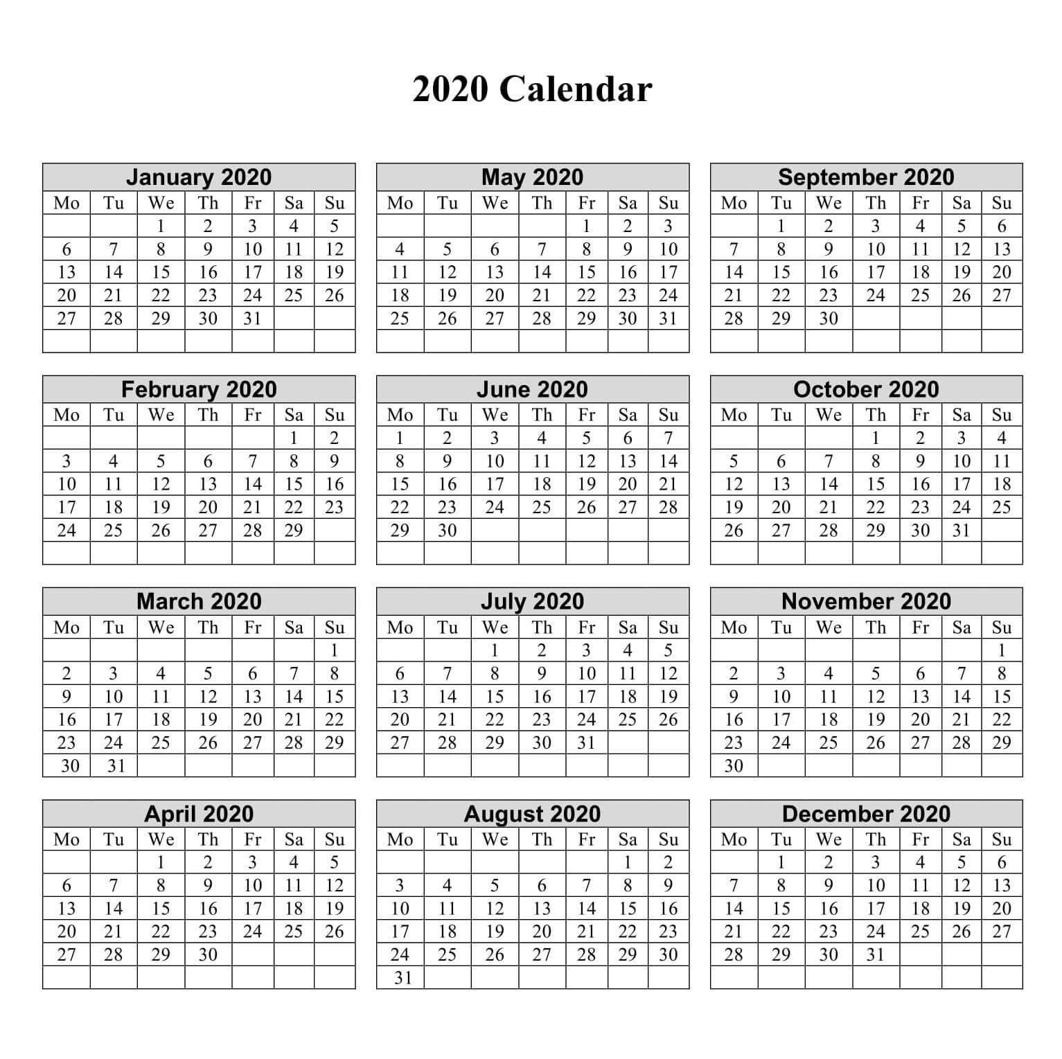 1 Year Small Calendar 2020 - 2019 Calendars For Students regarding Calendaer 2020 Monday To Sunday