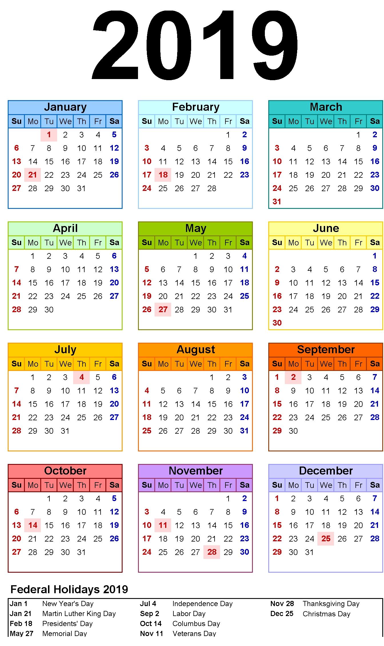 12 Month Calendar In One Page #2019Calendar inside Free Foldable Pocket Size Calendar Template