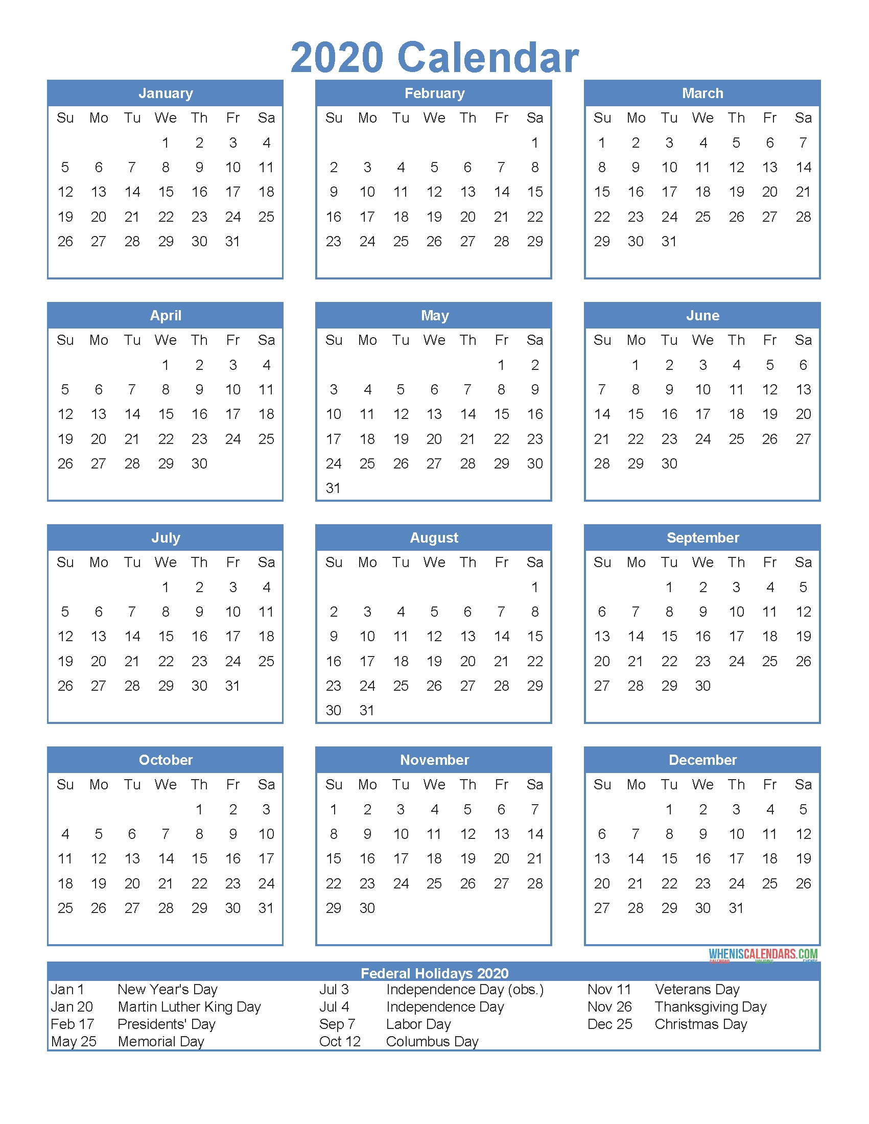 12 Month Calendar On One Page 2020 Printable Pdf, Excel with regard to Year At A Glance 2020 Png