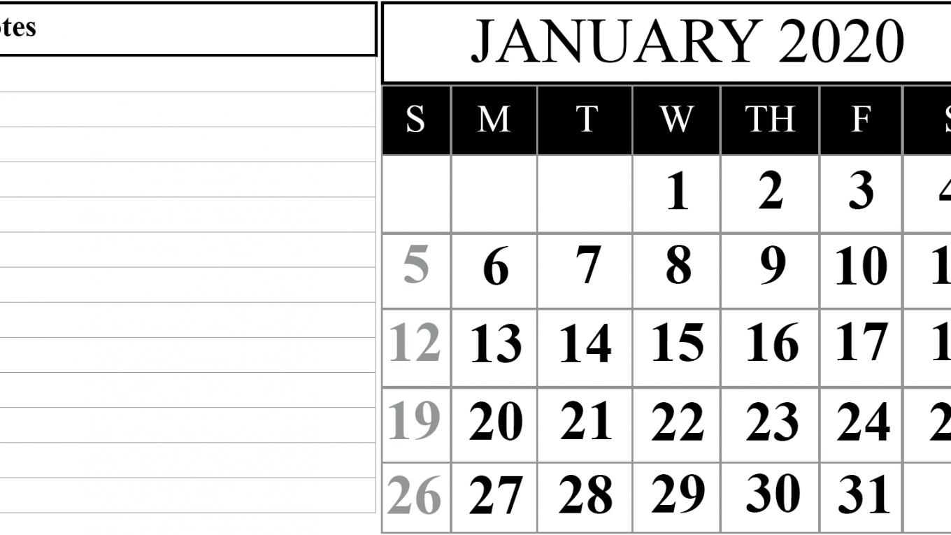 15+ Free Blank January 2020 Fillable Calendar Template To within Calender 2020 With Space To Write