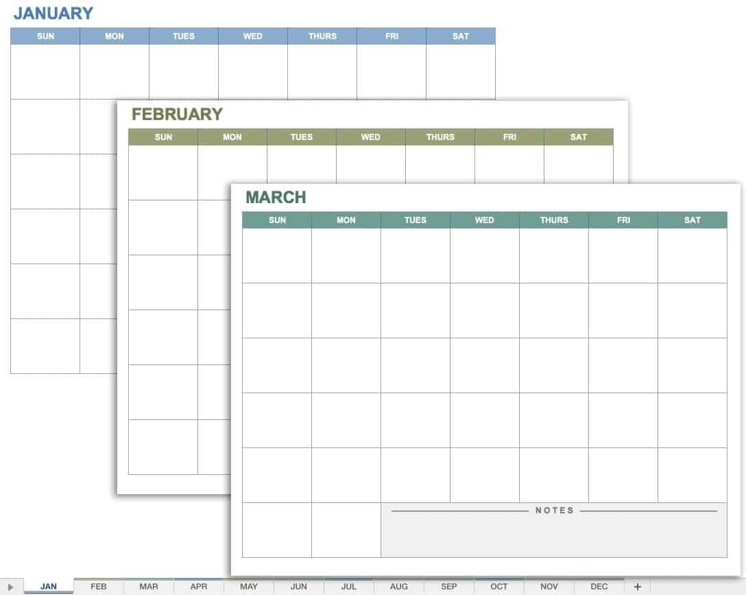 15 Free Monthly Calendar Templates | Smartsheet regarding Printable Calendar With Space To Write
