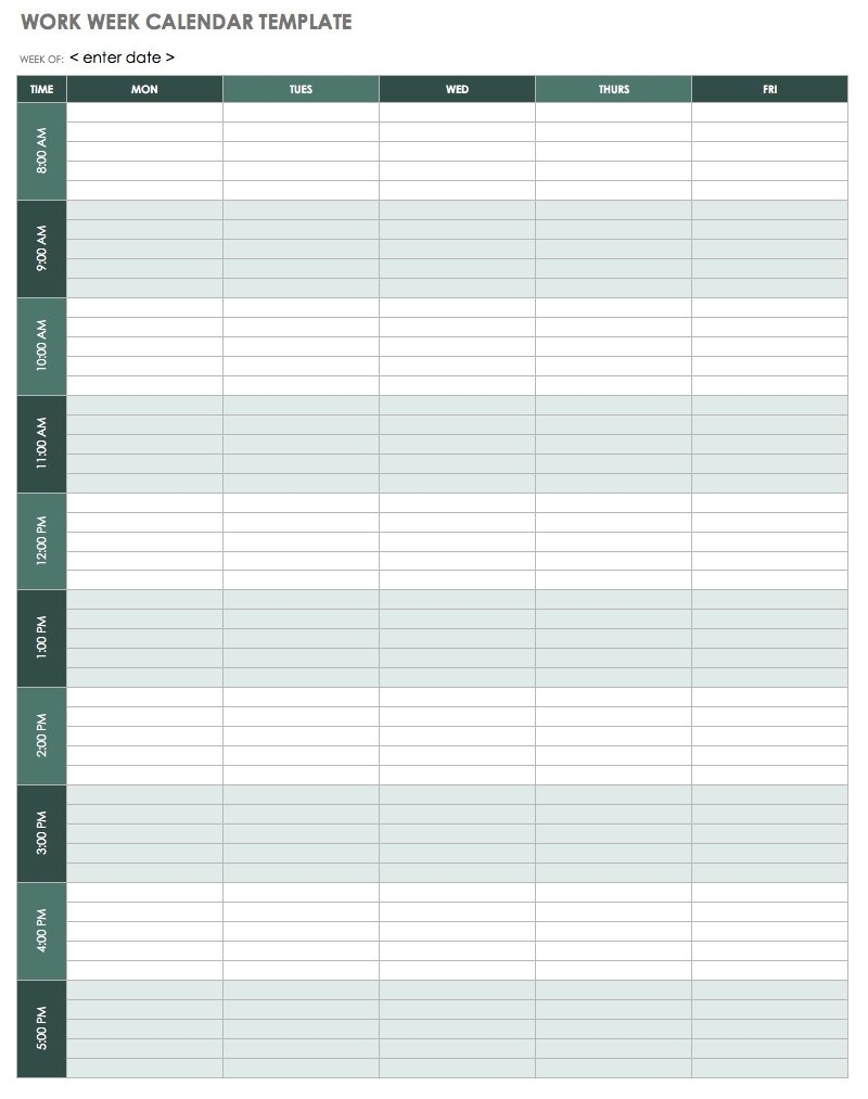 15 Free Weekly Calendar Templates | Smartsheet pertaining to Monday To Friday Calendar With Hours