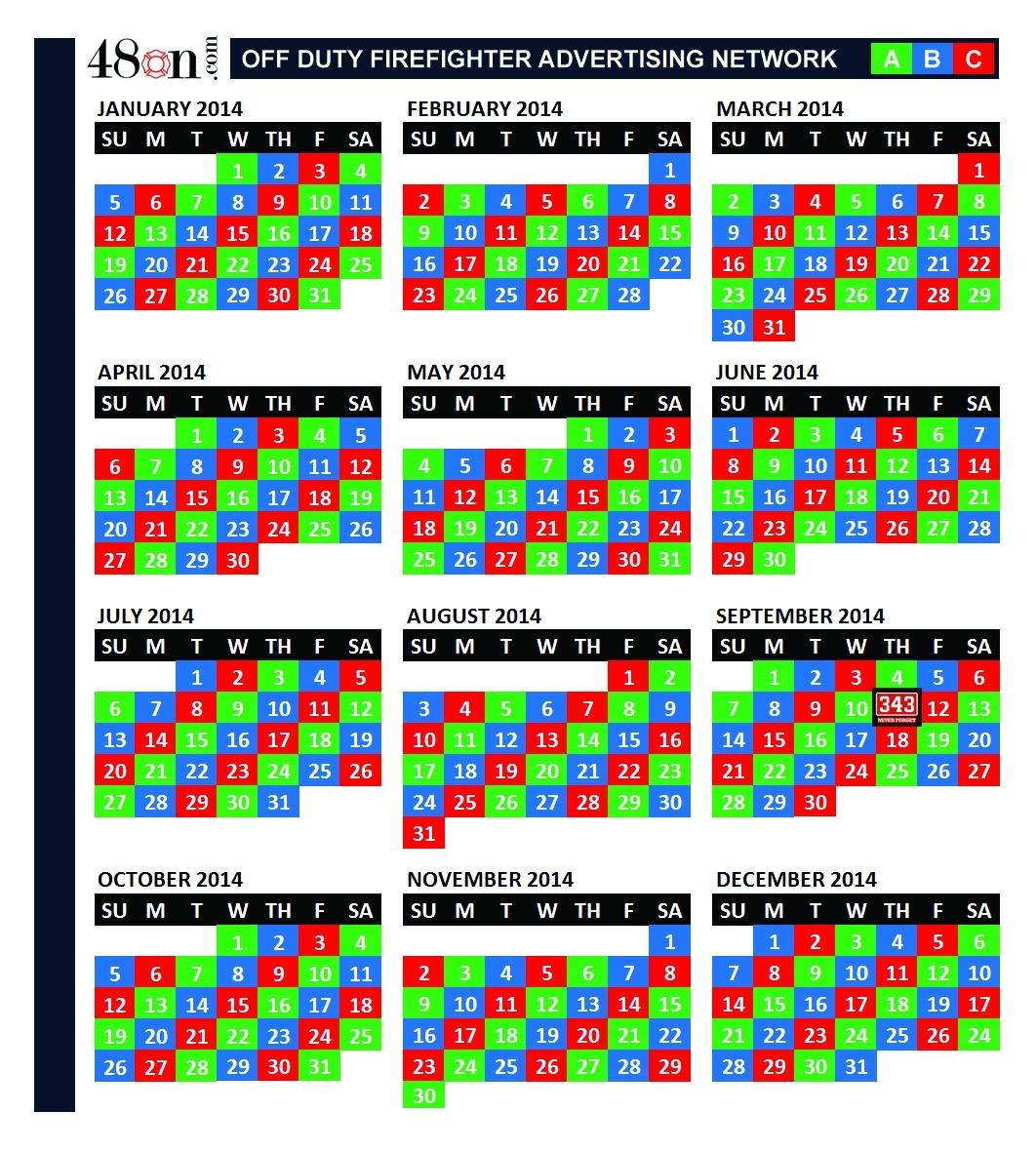 2014 Firefighter Shift Calendar – 48On Advertising – 48On throughout Fire Dept Shift Calendar 24/48