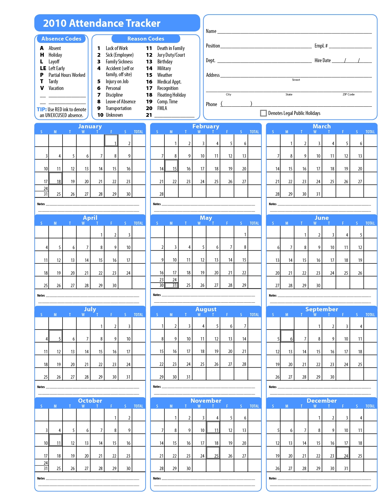 2015 Free Attendance Calendars Printable Employee Attendance pertaining to Promotional One Page Year Calendars 8.5 X 11
