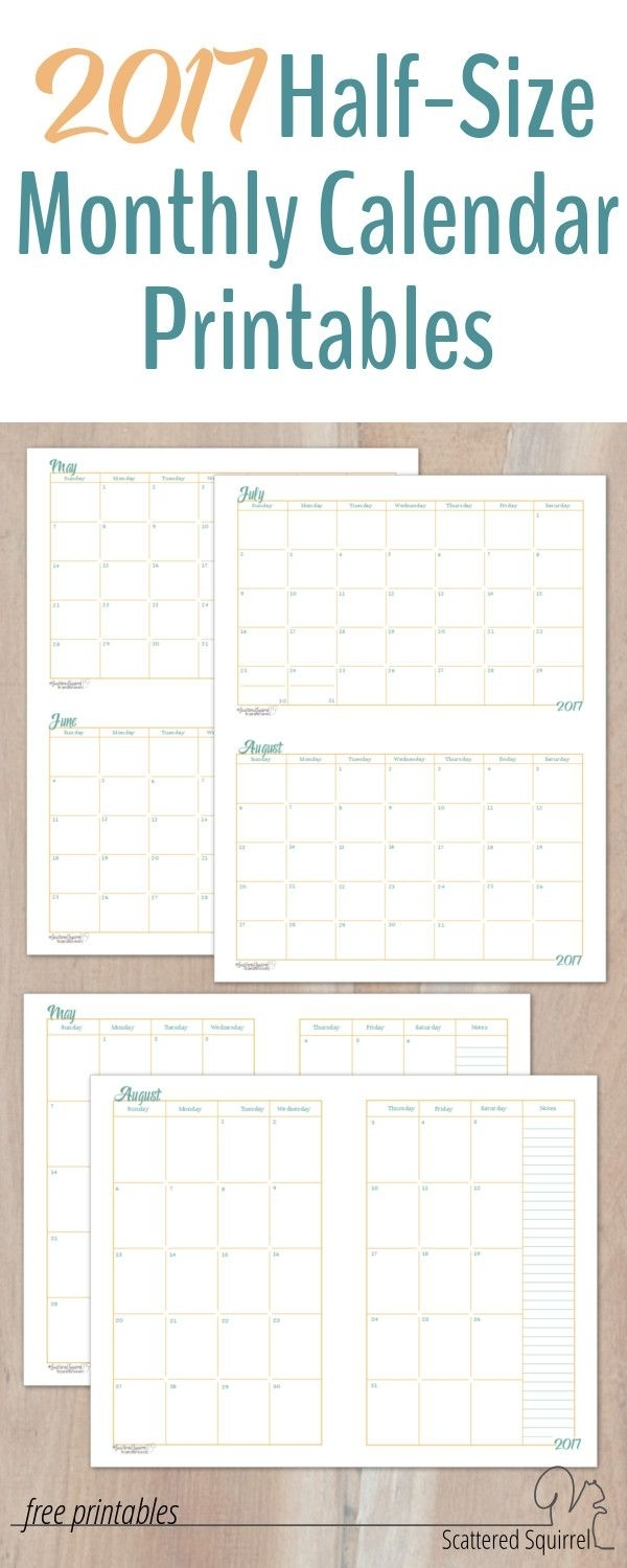 2017 Half-Size Monthly Calendar Printables | Monthly Planner intended for Pocket Size Monthly Calendar Printable