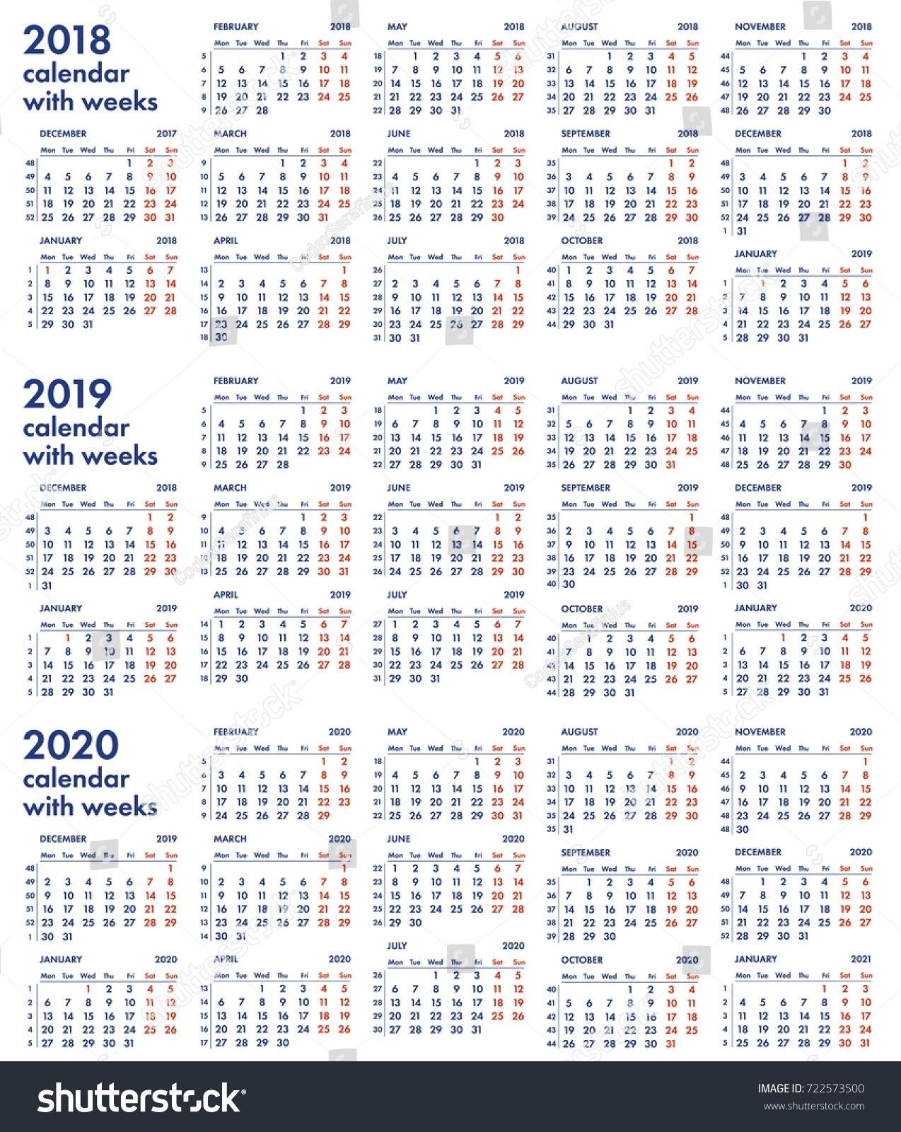 2018 2019 2020 Calendar Grid Weeks Stock Vector (Royalty regarding Calendar 2019 2020 With Week Number