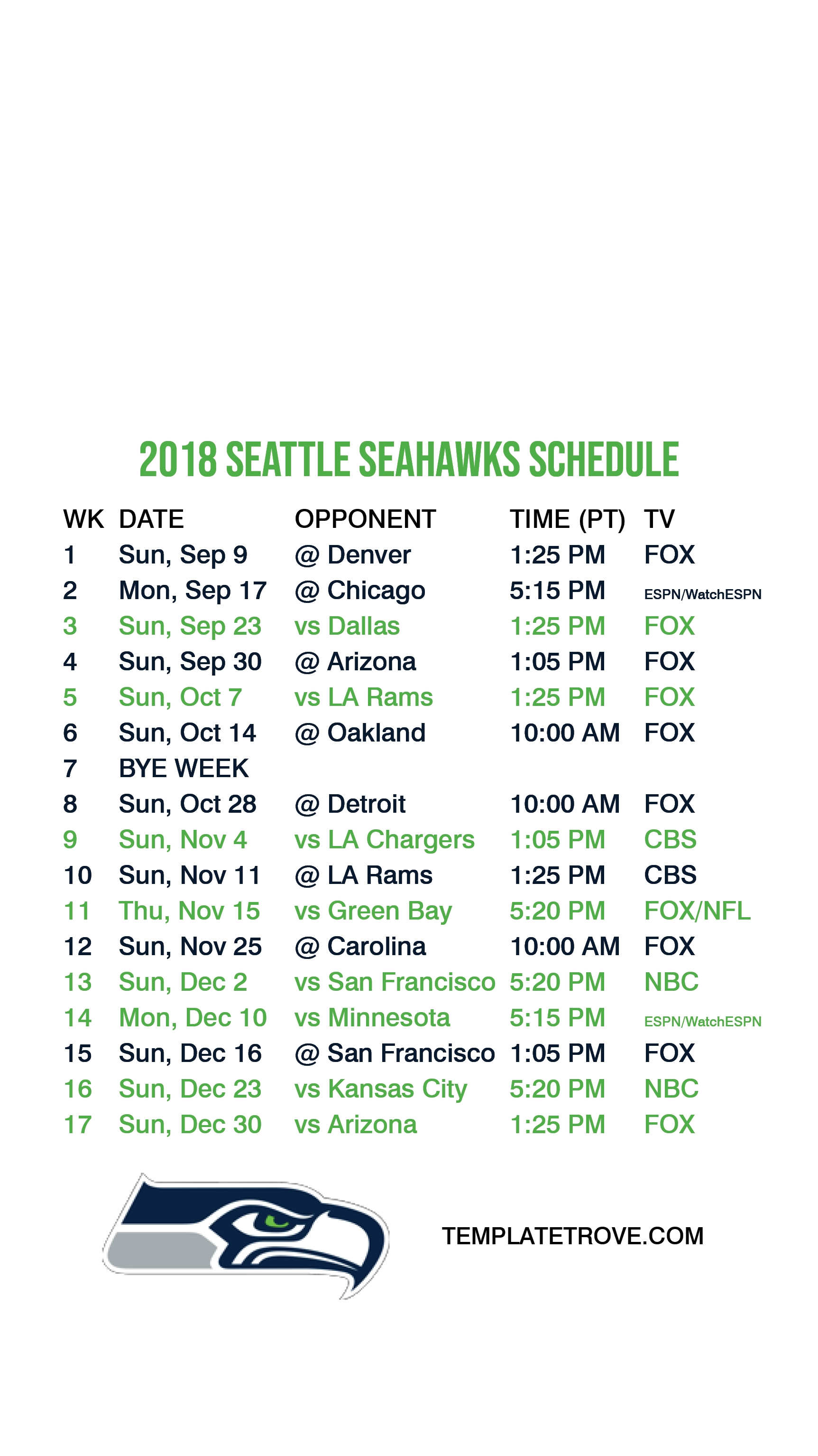 2018-2019 Seattle Seahawks Lock Screen Schedule For Iphone 6 inside Seahawks 2019 2020 Schedule Printable