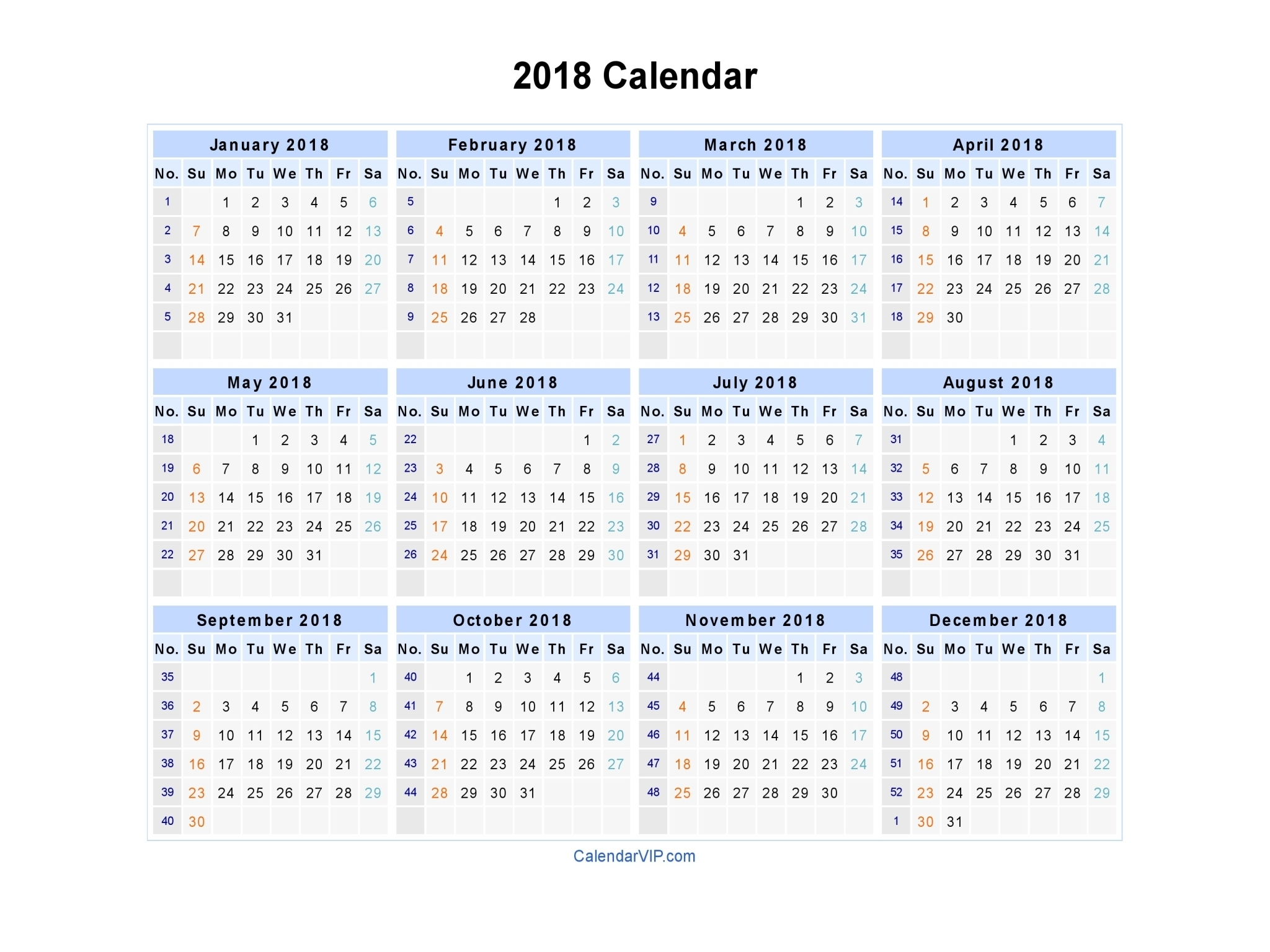 2018 Calendar - Blank Printable Calendar Template In Pdf with 2020 Calendar Weeks Numbered Excel