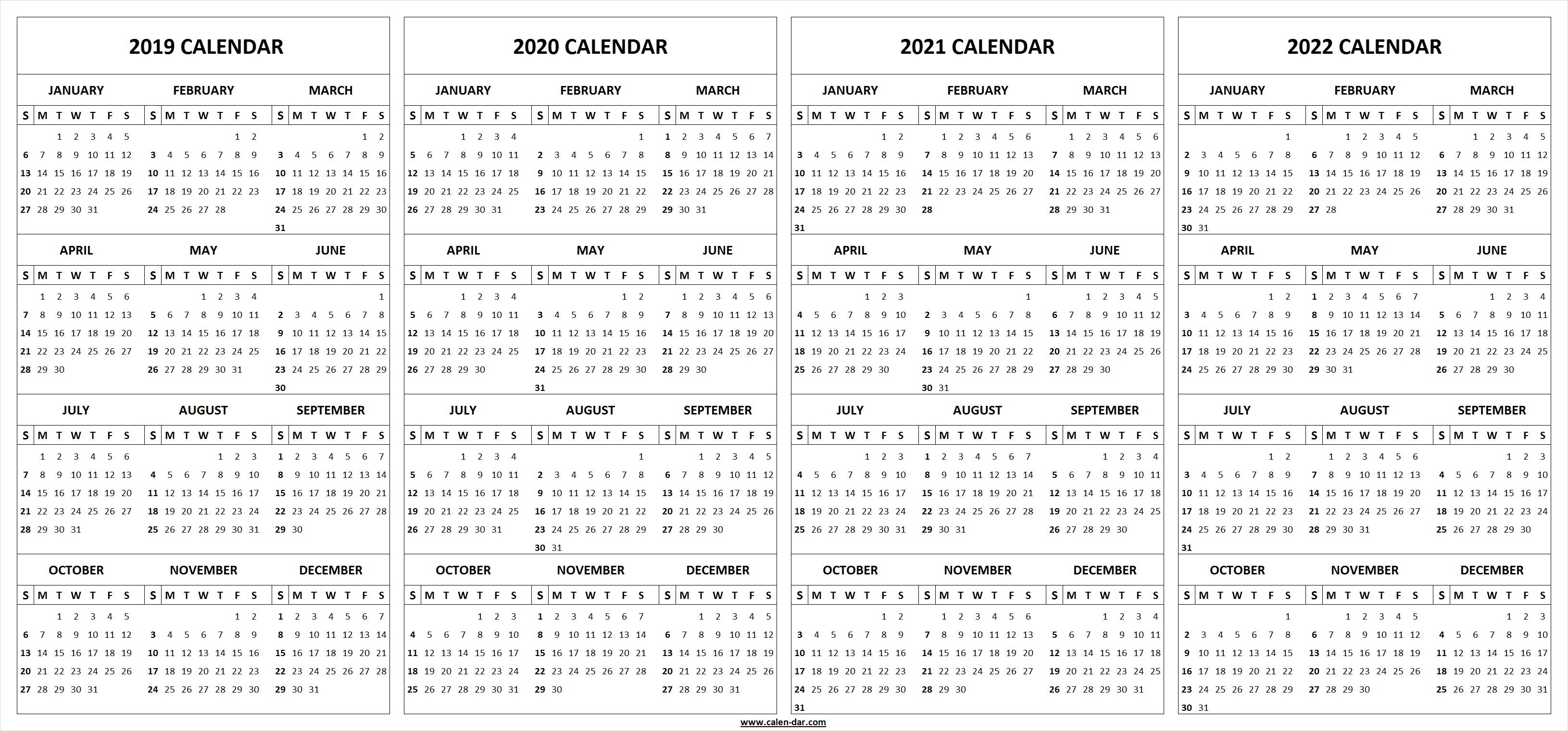 2019 2020 2021 2022 Calendar Blank Template | 2021 Calendar in 2019 2020 2021 2022 Calendars