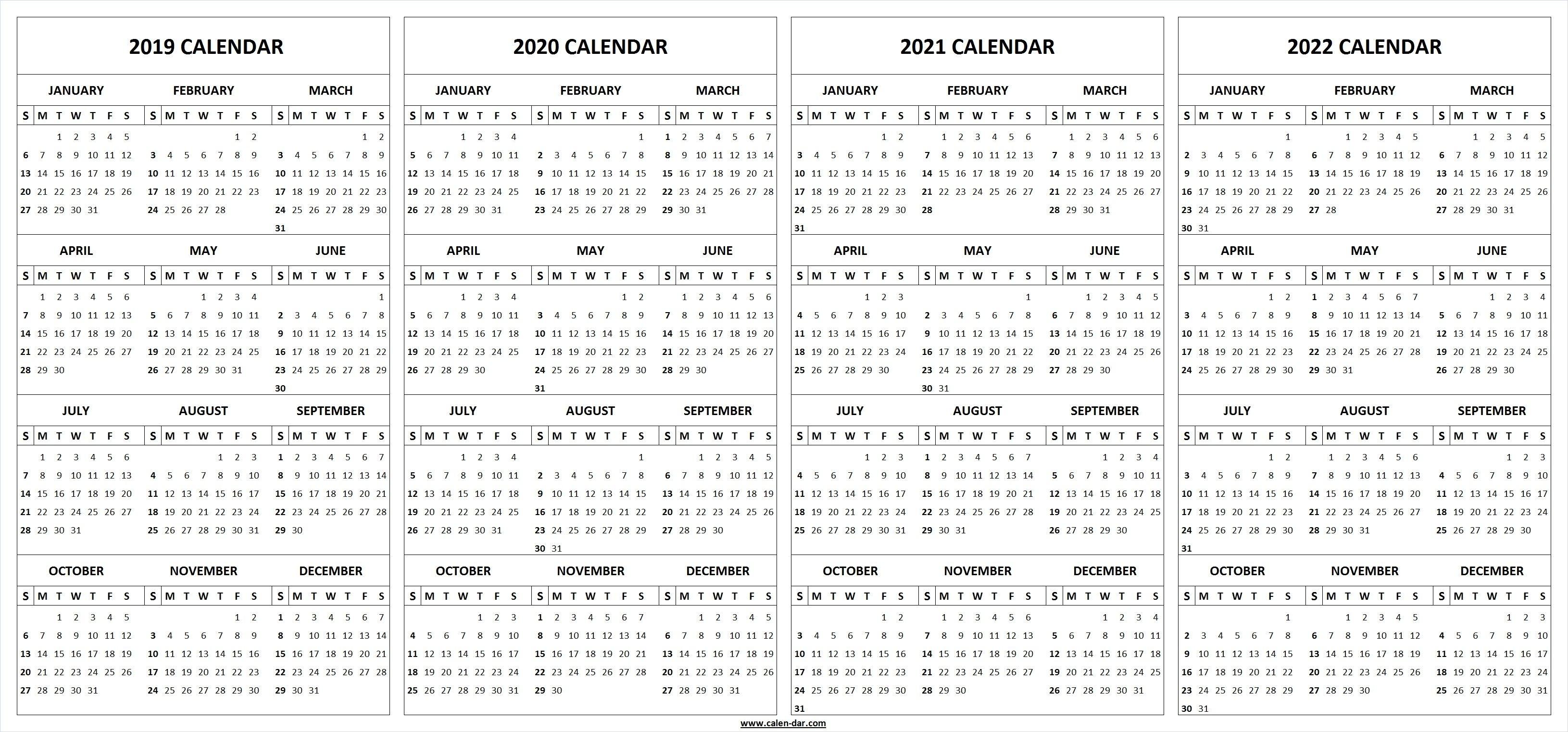2019 2020 2021 2022 Calendar Blank Template | 2021 Calendar regarding Calendar Print Out 2019 2020 2021 2022