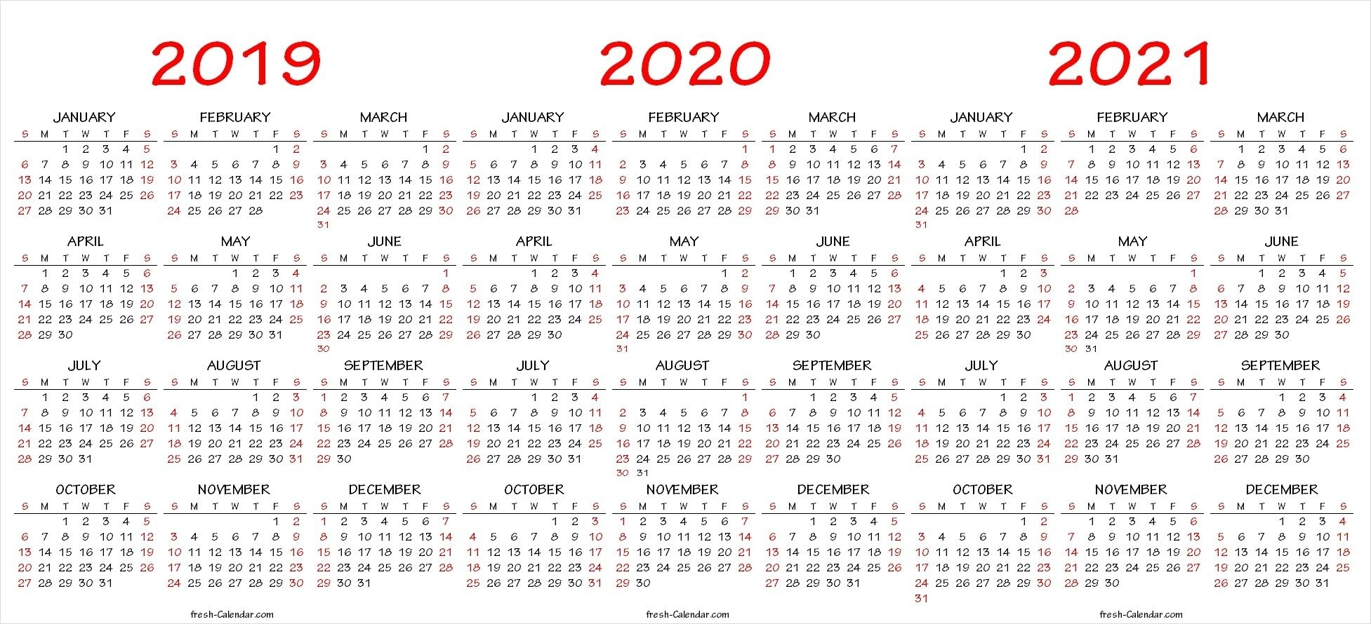 2019 2020 2021 Calendar Pdf Template | 2021 Calendar, Yearly with 2019 To 2021 Printable Calendar