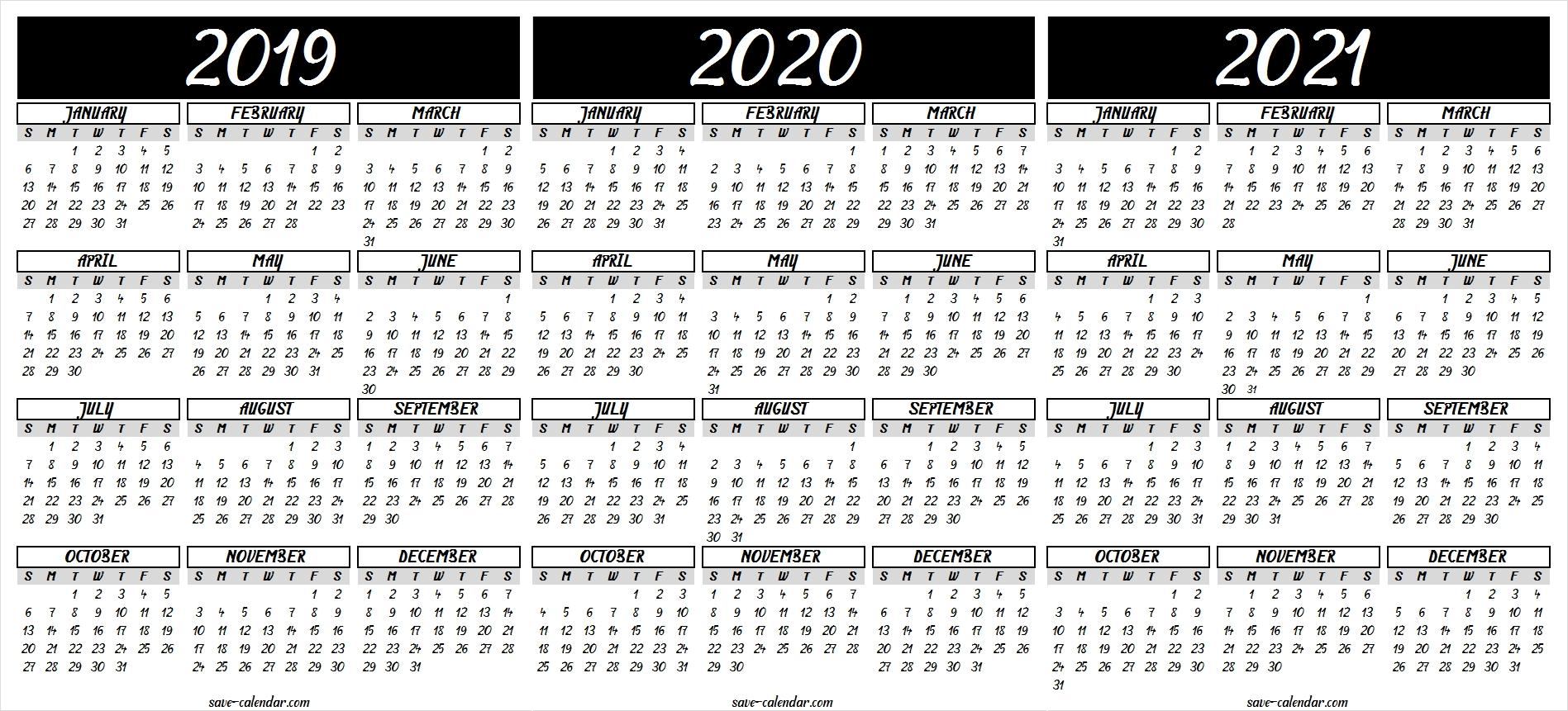 2019 2020 2021 Calendar Printable | 2021 Calendar, Templates for 2019 2020 2021 Printable Calendar