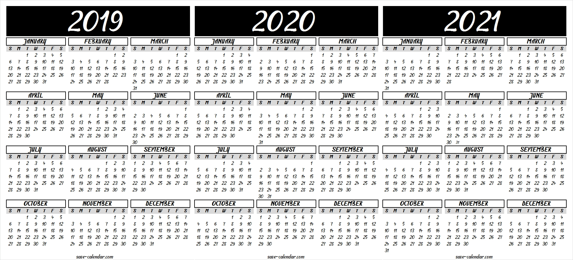 2019 2020 2021 Calendar Printable | 2021 Calendar, Templates throughout Printable Calendar Or 2020 And 2021 Monday To Sunday