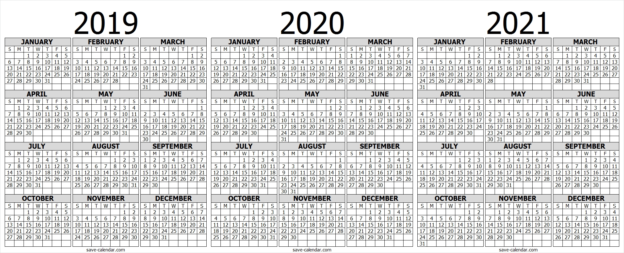 2019 2020 2021 Calendar To Print | Print Calendar, 2021 in 2019 2020 2021 Printable Calendar