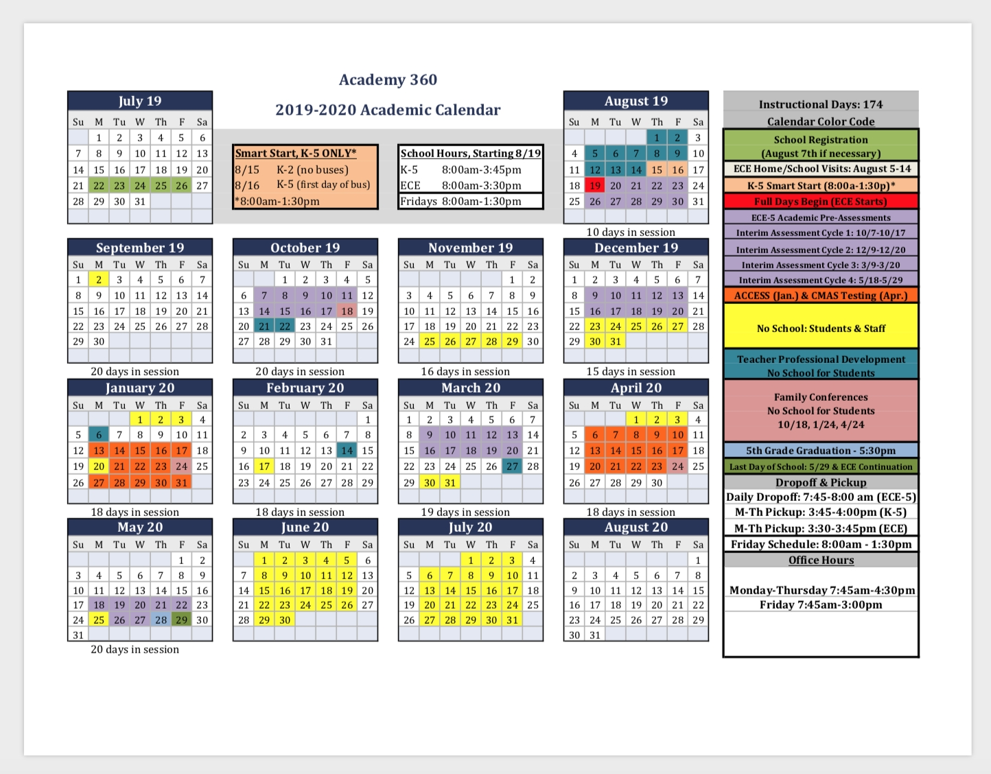 2019-2020 Academic Calendar School Hours, Bus, & More with 2020 Calendar With Special Days