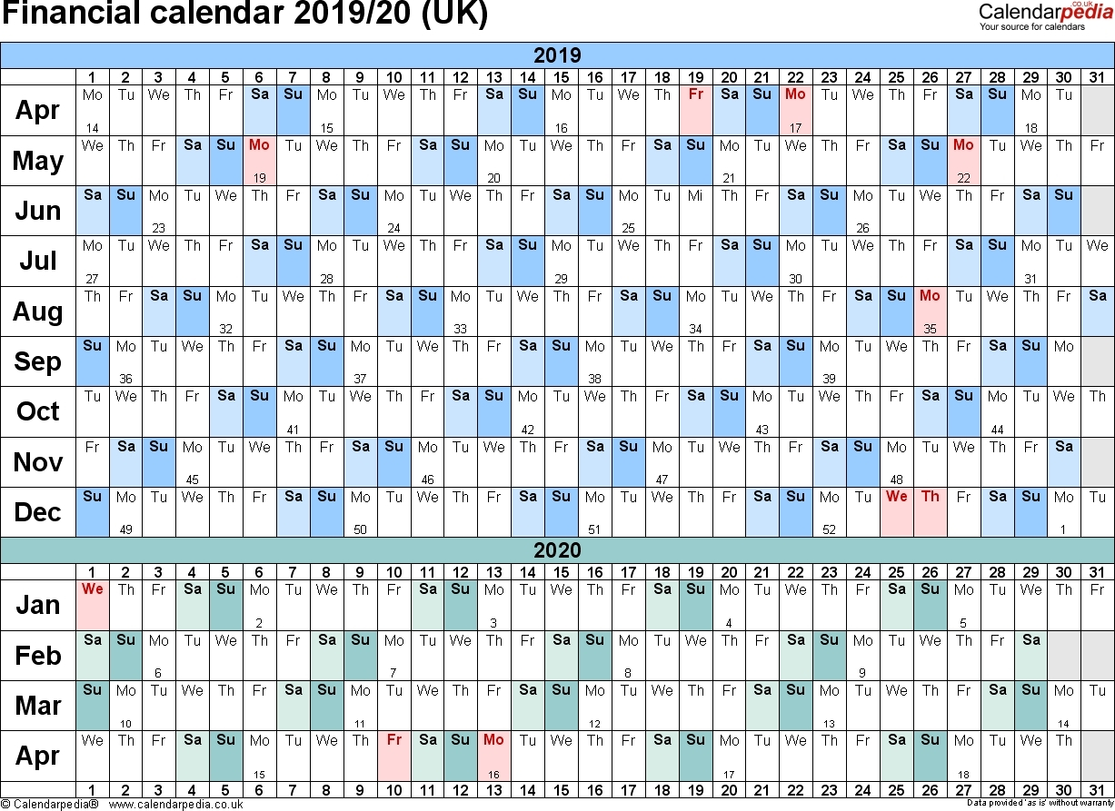 2019-2020 Calendar Financial Week Numbers - Calendar within Week Numbers For Financial Year 2019