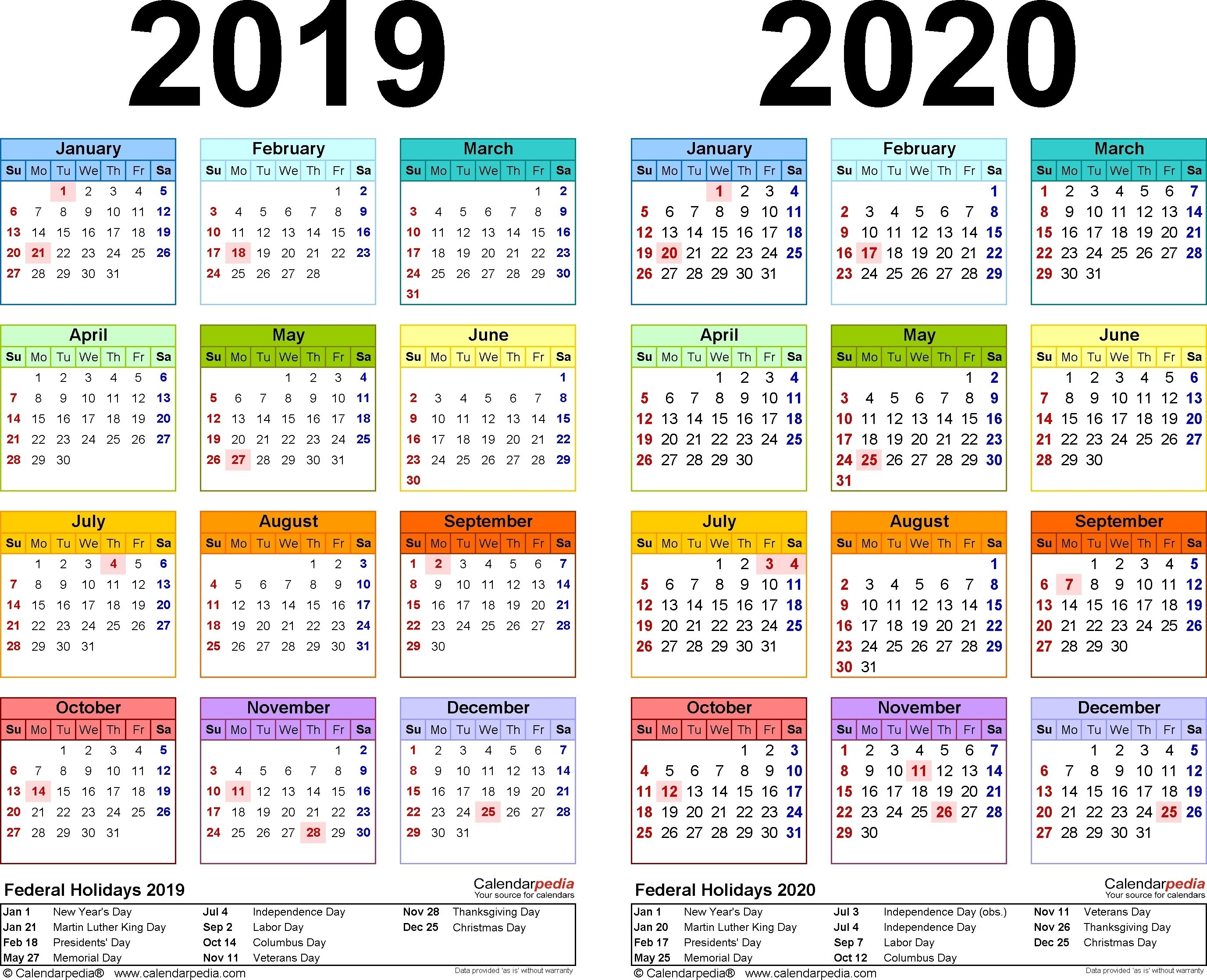 2019-2020 Calendar - Free Printable Two-Year Excel Calendars for Calander At A Glance 2020 Excel