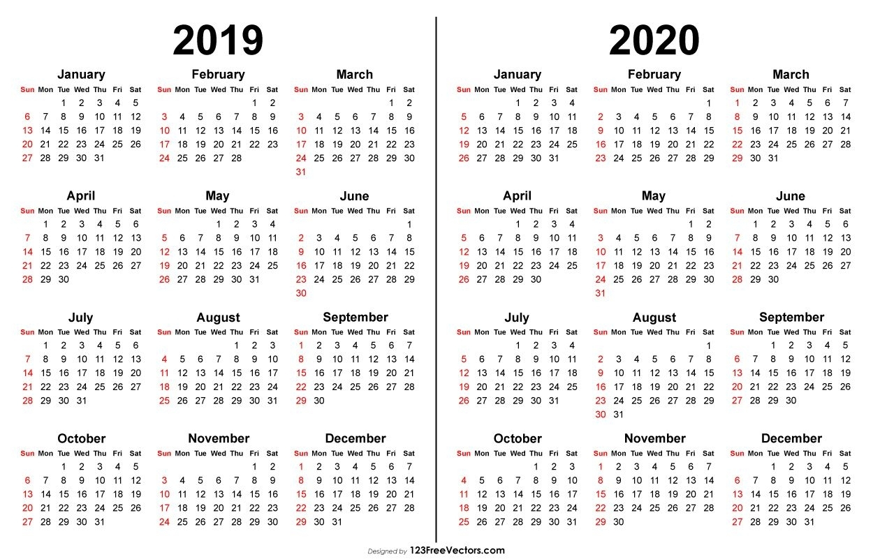 2019 2020 Calendar | Print Calendar, Printable Calendar pertaining to Yearly Calendar In One Page 2019-2020